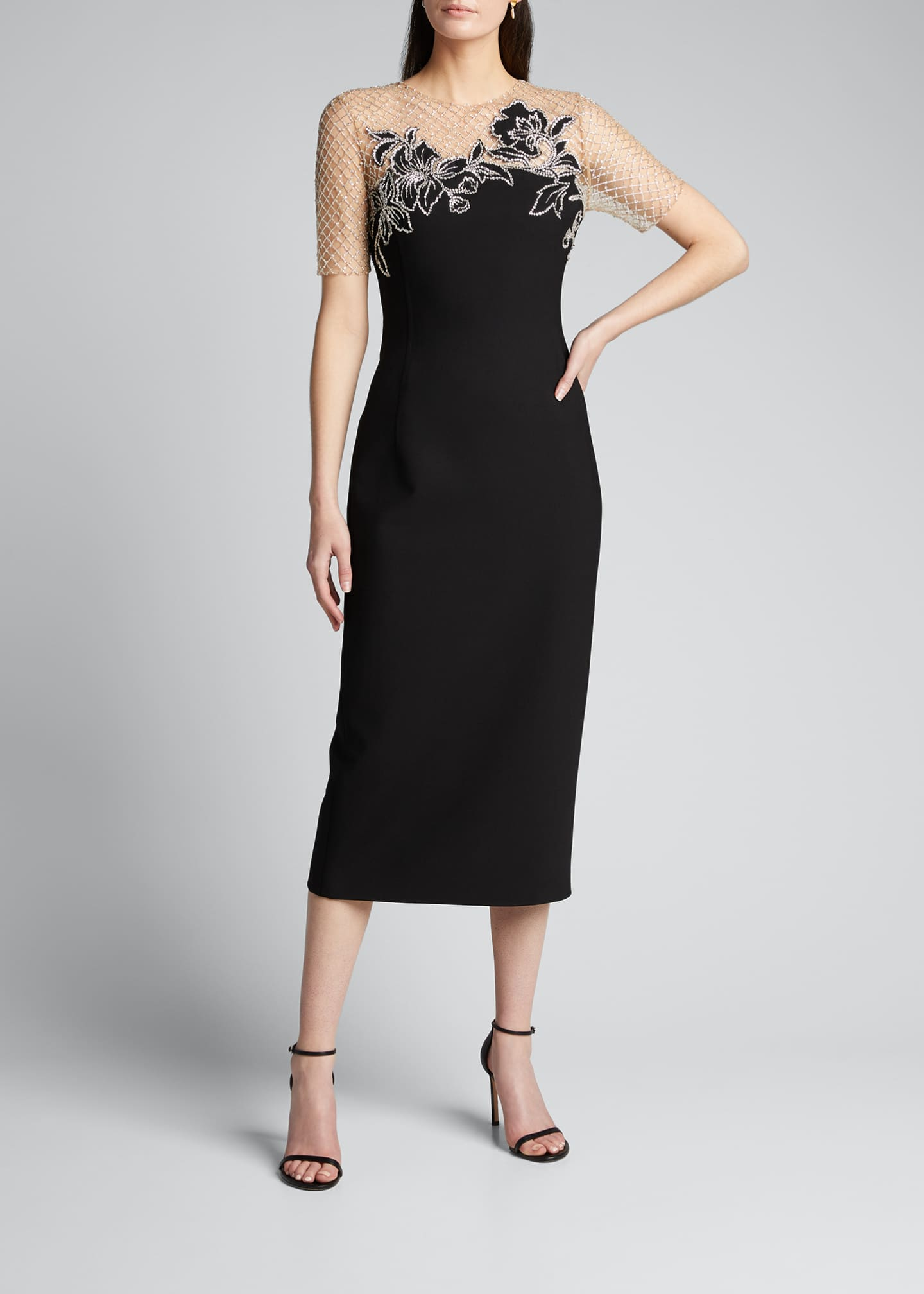 Image 1 of 5: Short-Sleeve Midi Dress w/ Embroidered Netting