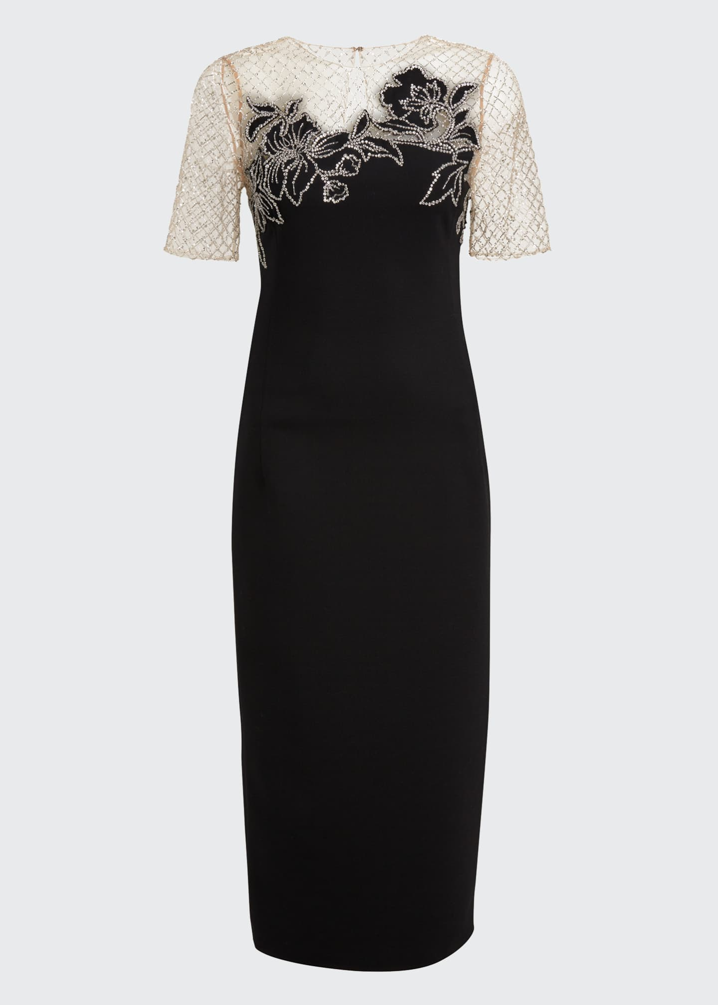 Image 5 of 5: Short-Sleeve Midi Dress w/ Embroidered Netting