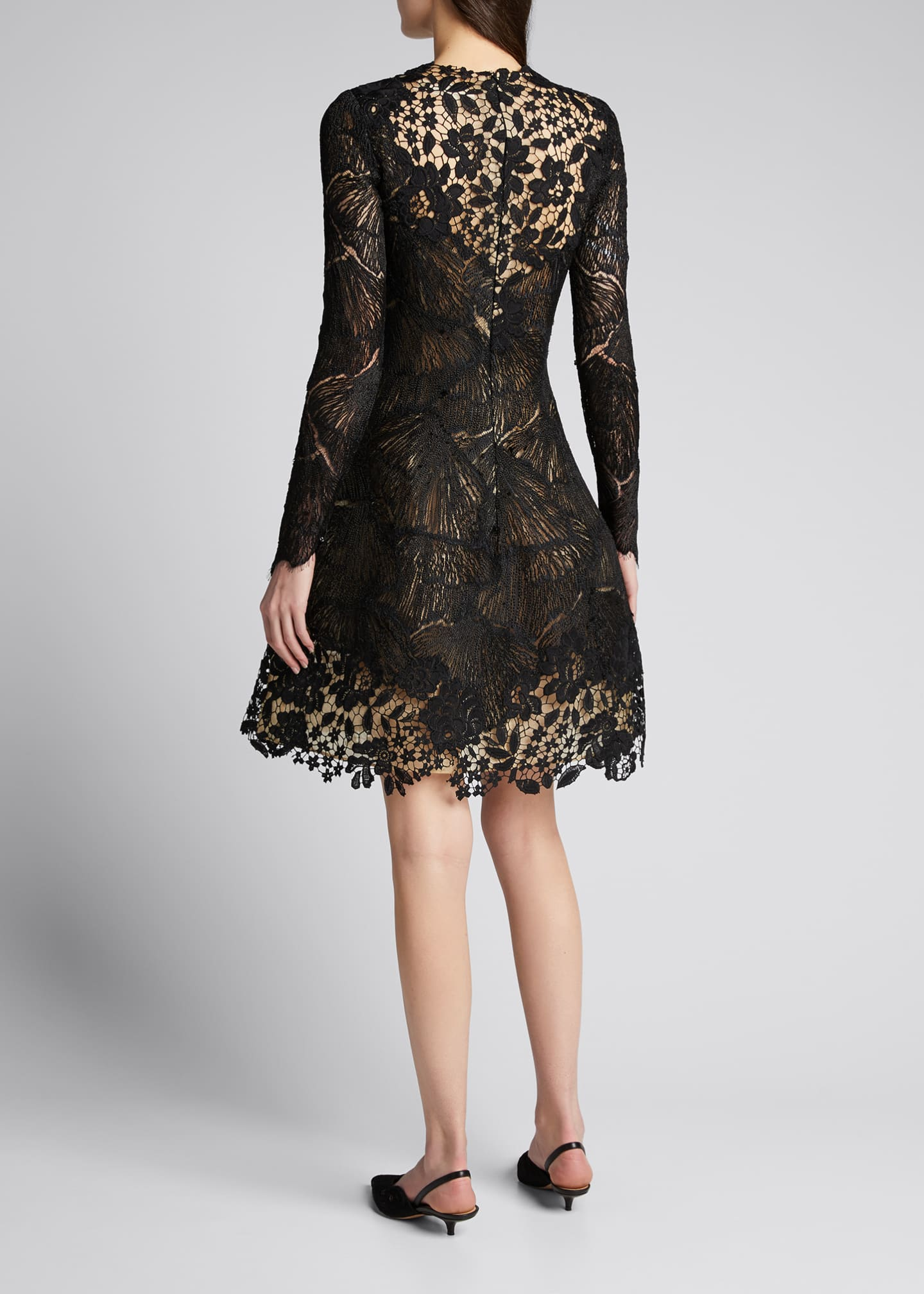 Image 2 of 5: Long-Sleeve Multi Lace Cocktail Dress