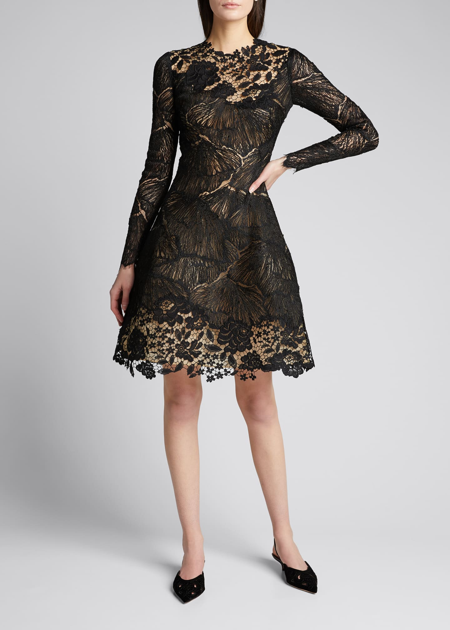 Image 3 of 5: Long-Sleeve Multi Lace Cocktail Dress