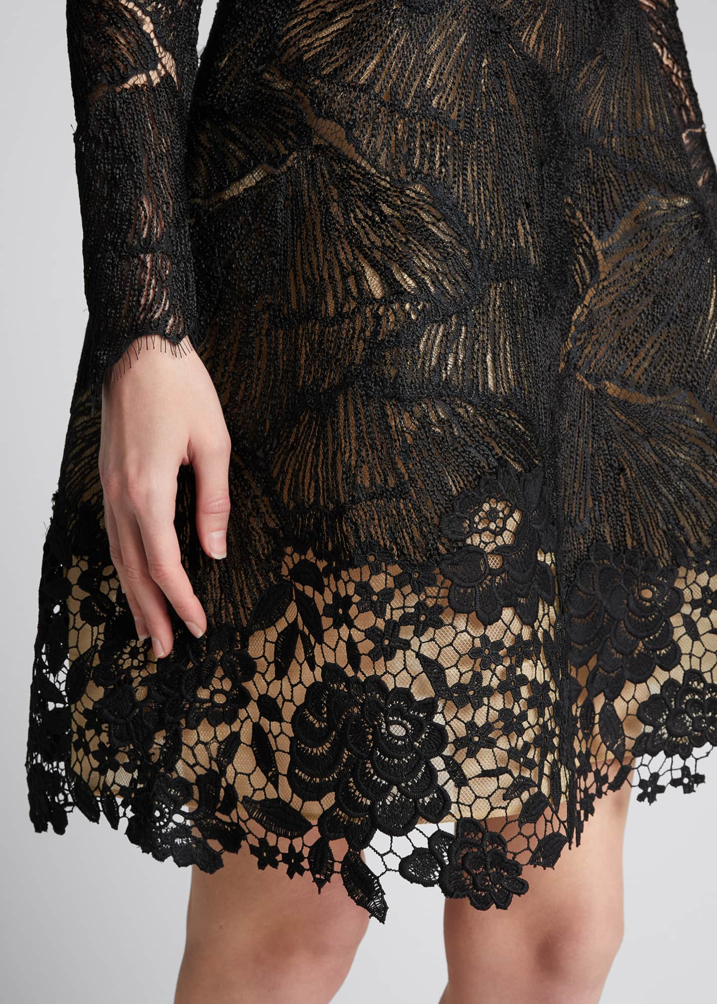 Image 4 of 5: Long-Sleeve Multi Lace Cocktail Dress