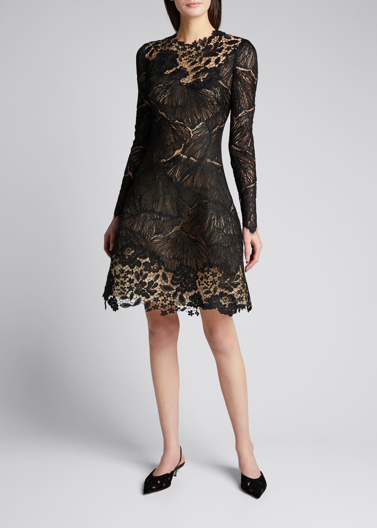 Image 1 of 5: Long-Sleeve Multi Lace Cocktail Dress