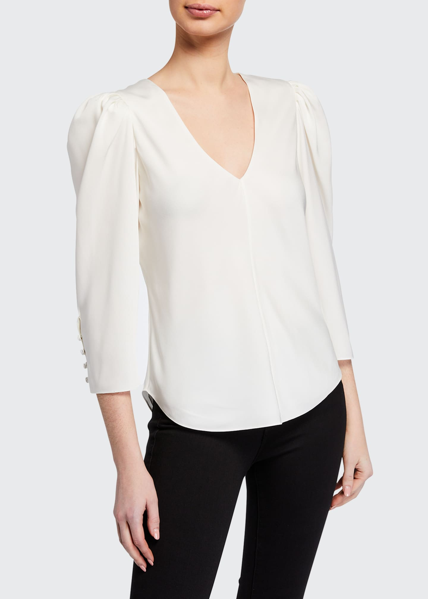 Image 2 of 3: Shirred V-Neck 3/4-Sleeve Top