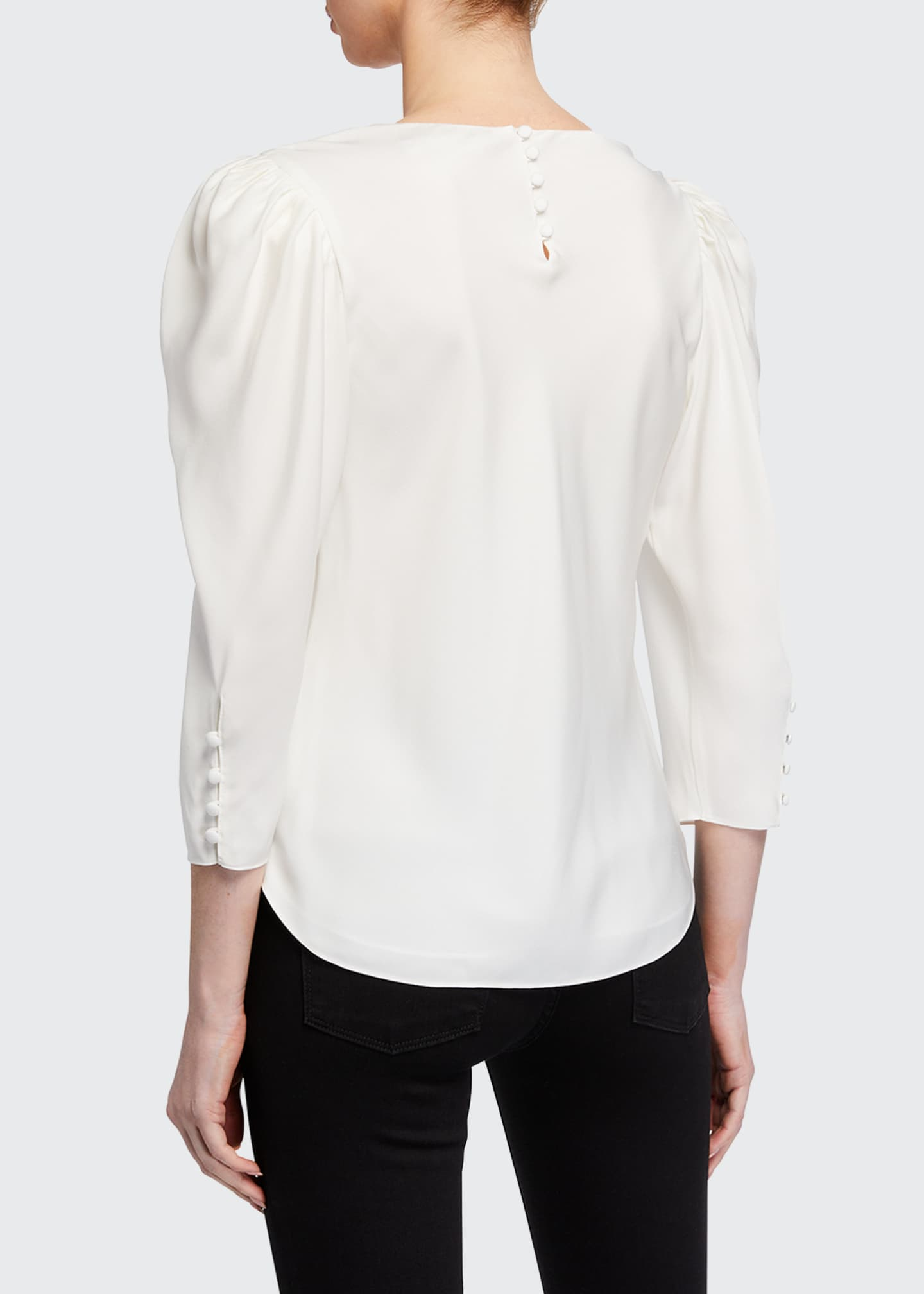 Image 3 of 3: Shirred V-Neck 3/4-Sleeve Top