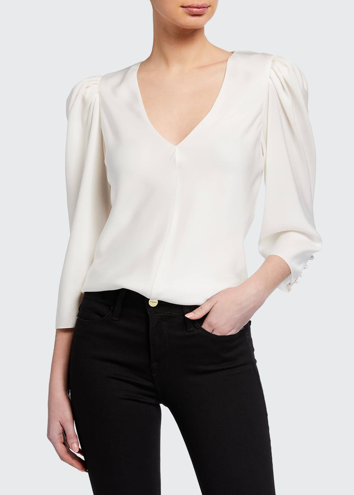 Image 1 of 3: Shirred V-Neck 3/4-Sleeve Top