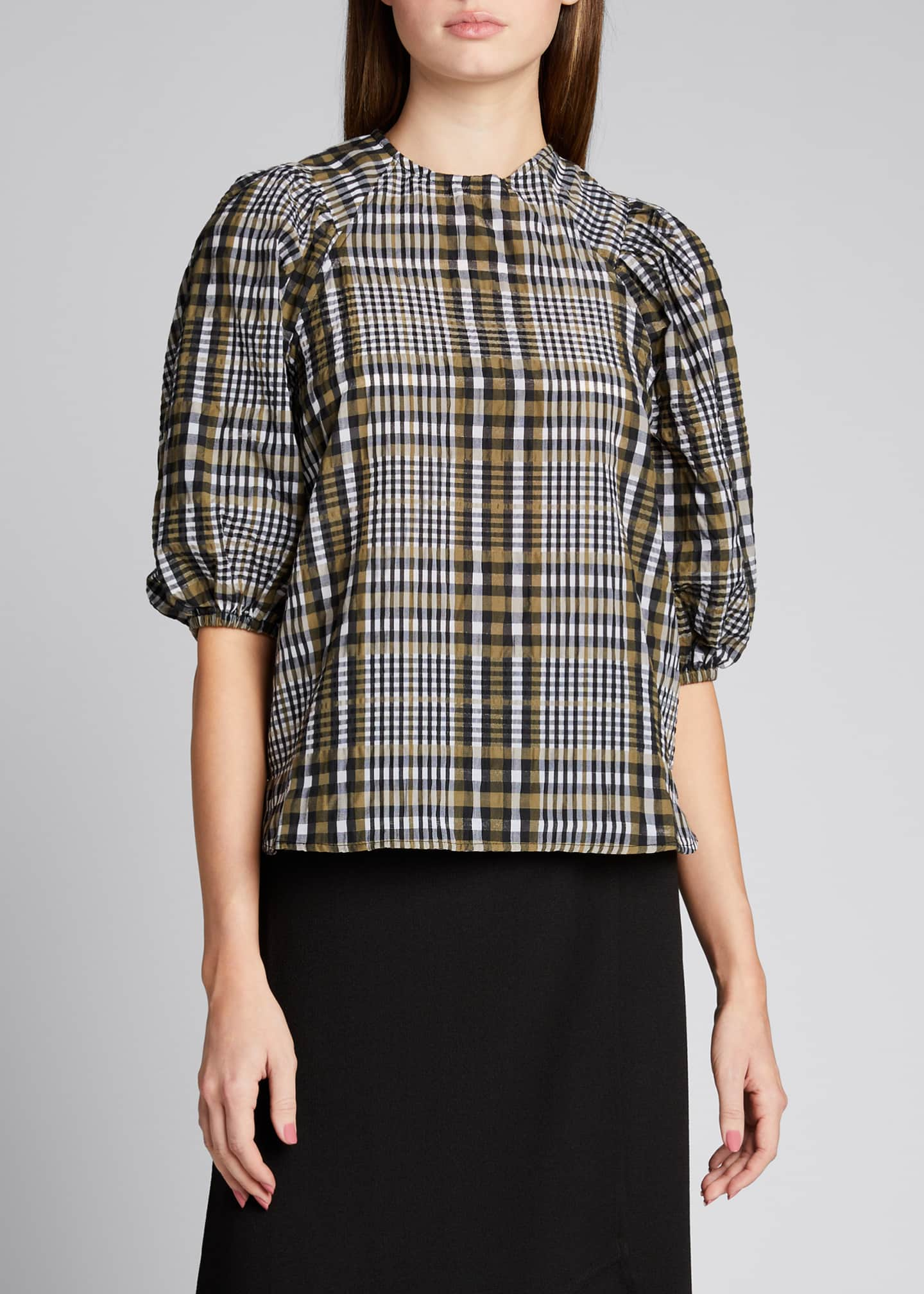 Image 3 of 5: Seersucker Check Puff-Sleeve Blouse
