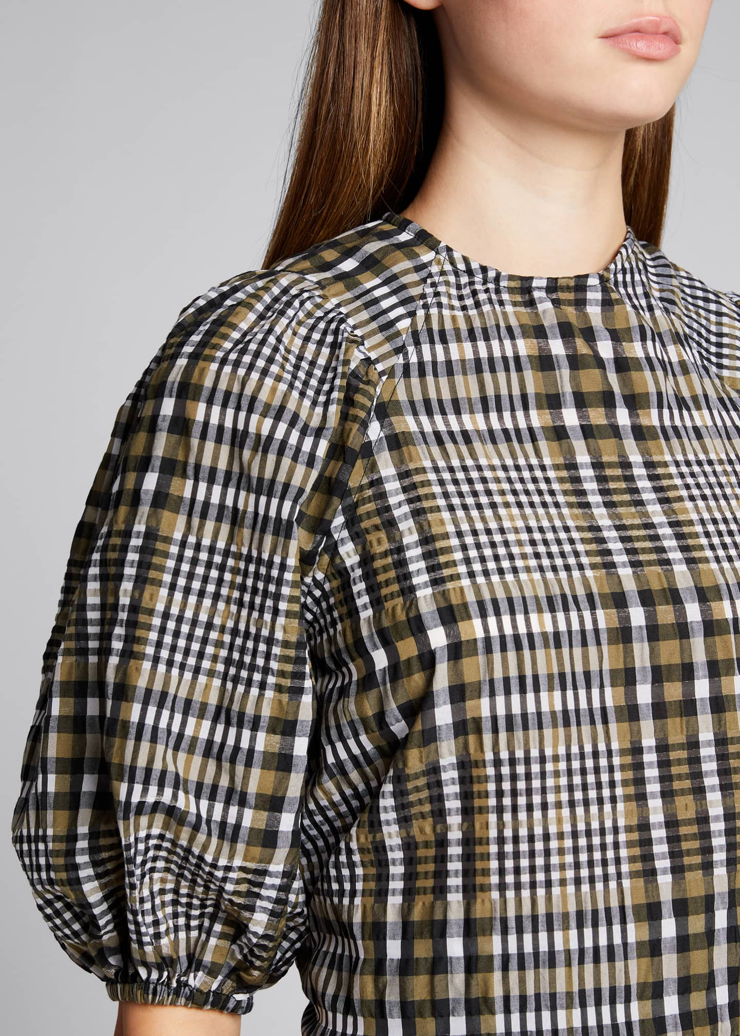 Image 4 of 5: Seersucker Check Puff-Sleeve Blouse