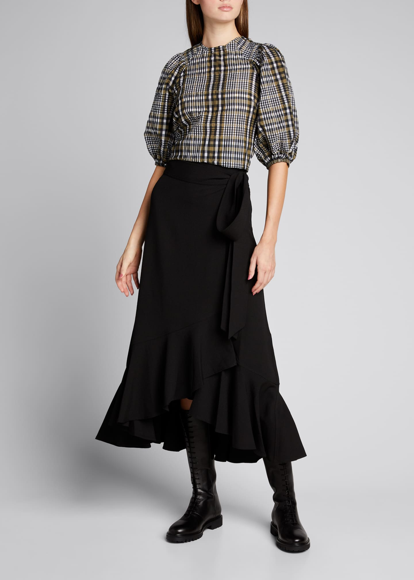Image 1 of 5: Seersucker Check Puff-Sleeve Blouse