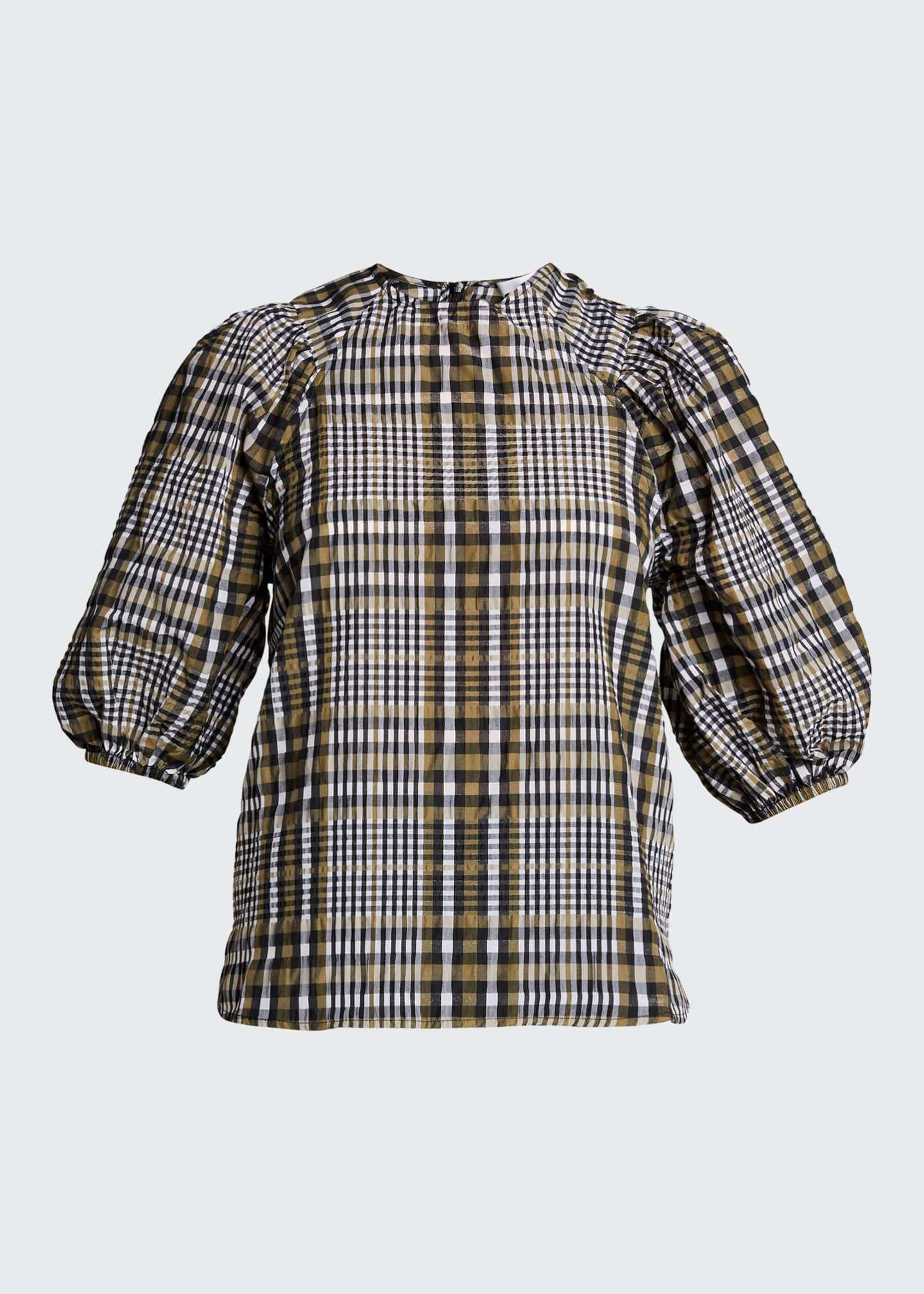 Image 5 of 5: Seersucker Check Puff-Sleeve Blouse