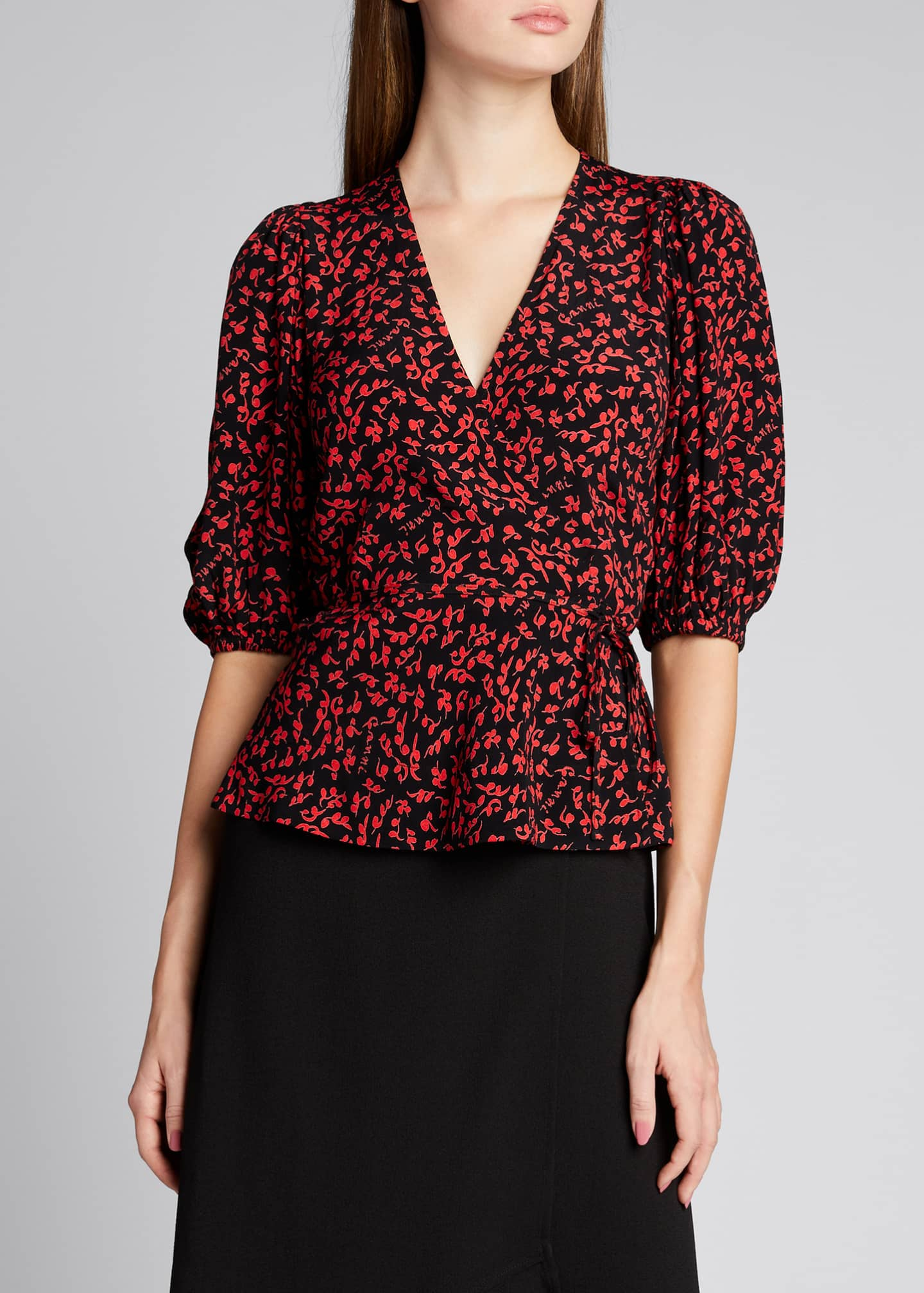 Image 3 of 5: Balloon-Sleeve Tie-Waist Crepe Blouse