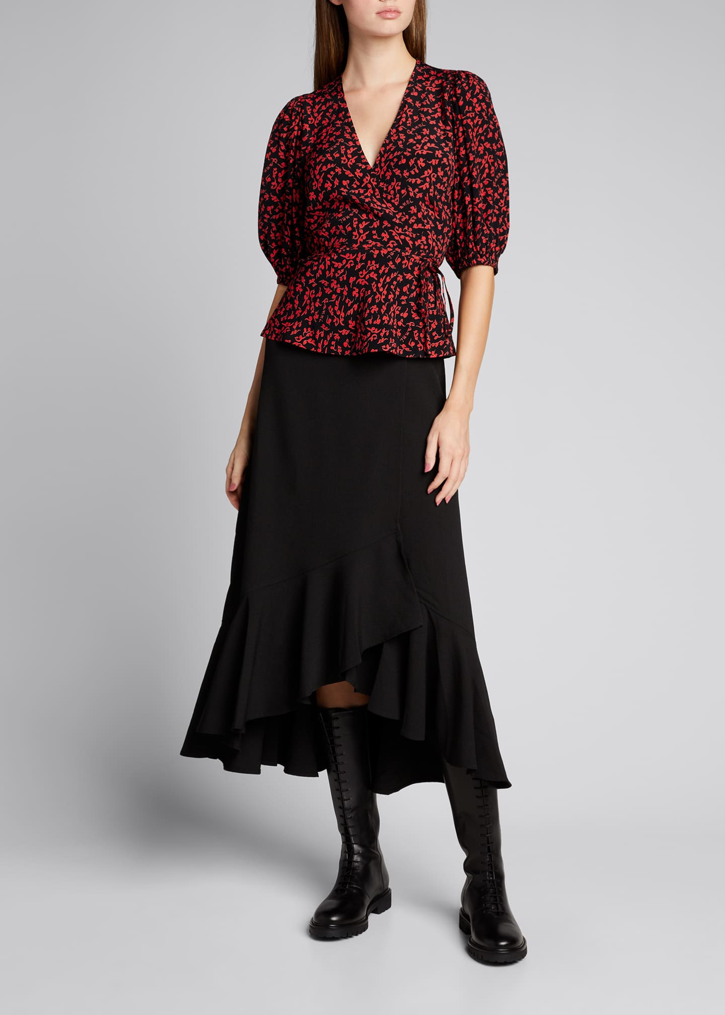 Image 1 of 5: Balloon-Sleeve Tie-Waist Crepe Blouse