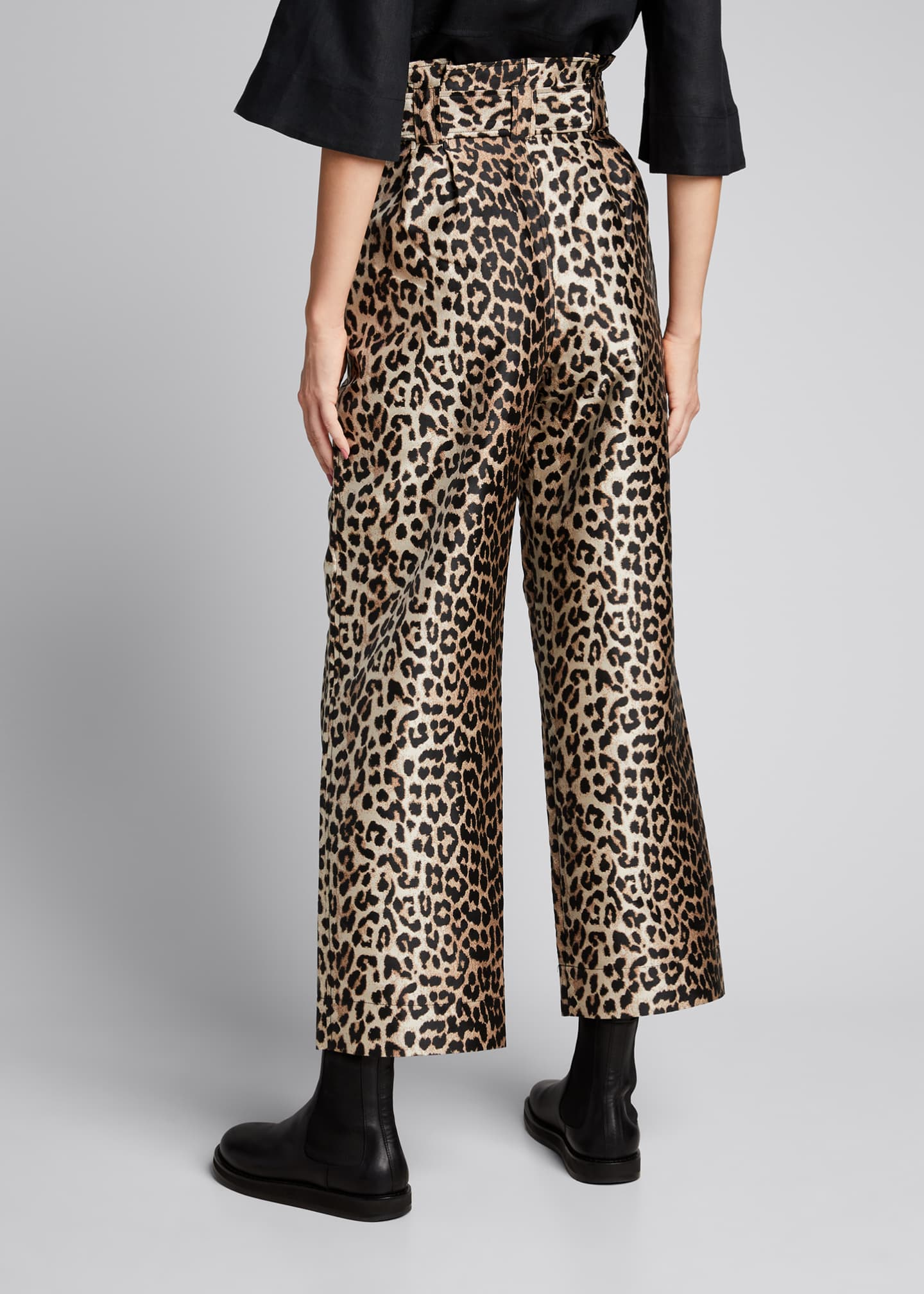 Image 2 of 5: Leopard-Print Jacquard High-Rise Pants