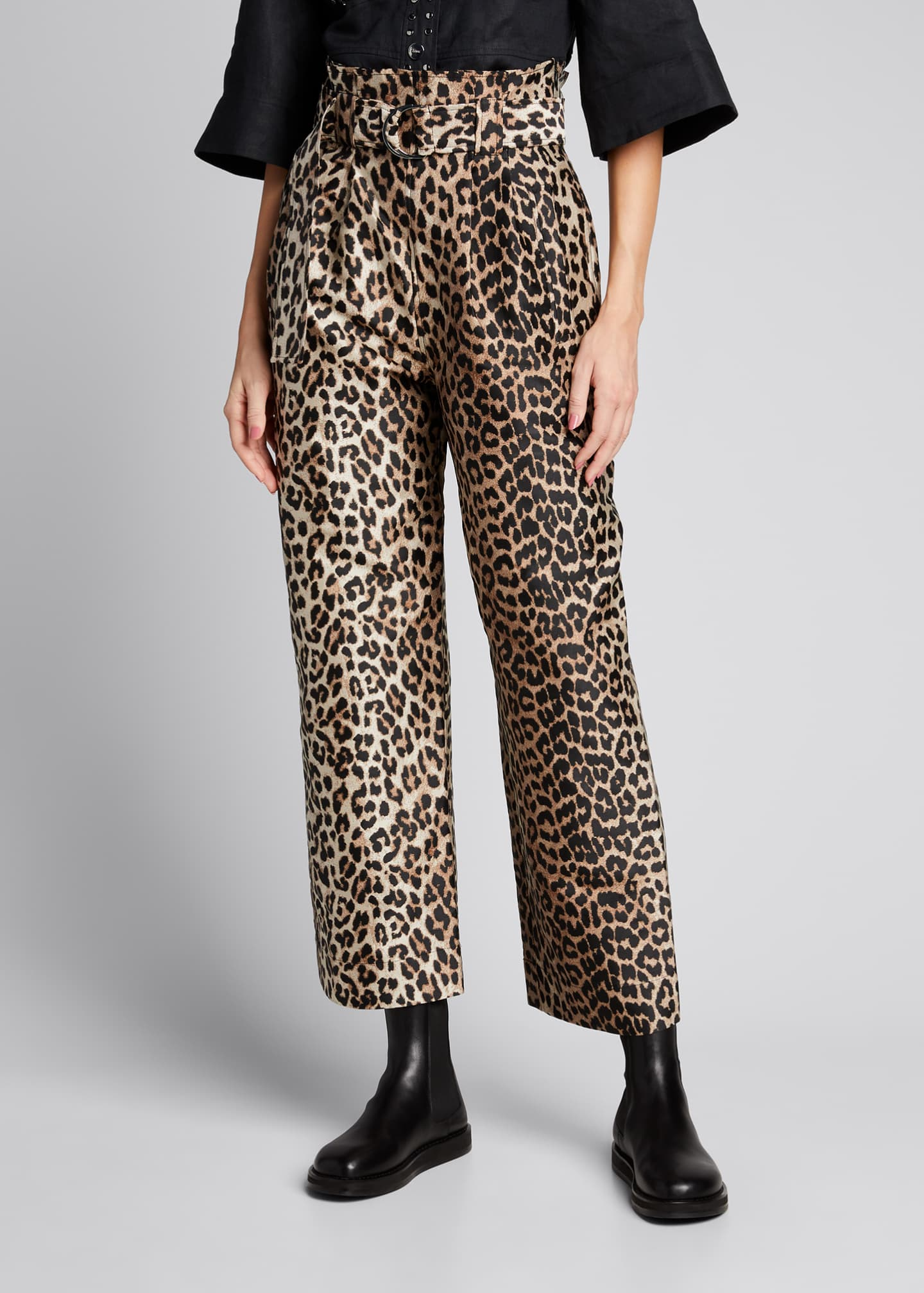 Image 3 of 5: Leopard-Print Jacquard High-Rise Pants