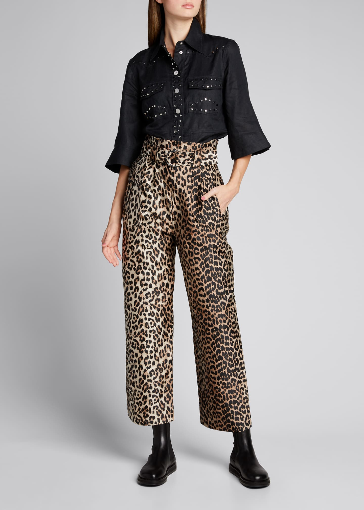 Image 1 of 5: Leopard-Print Jacquard High-Rise Pants