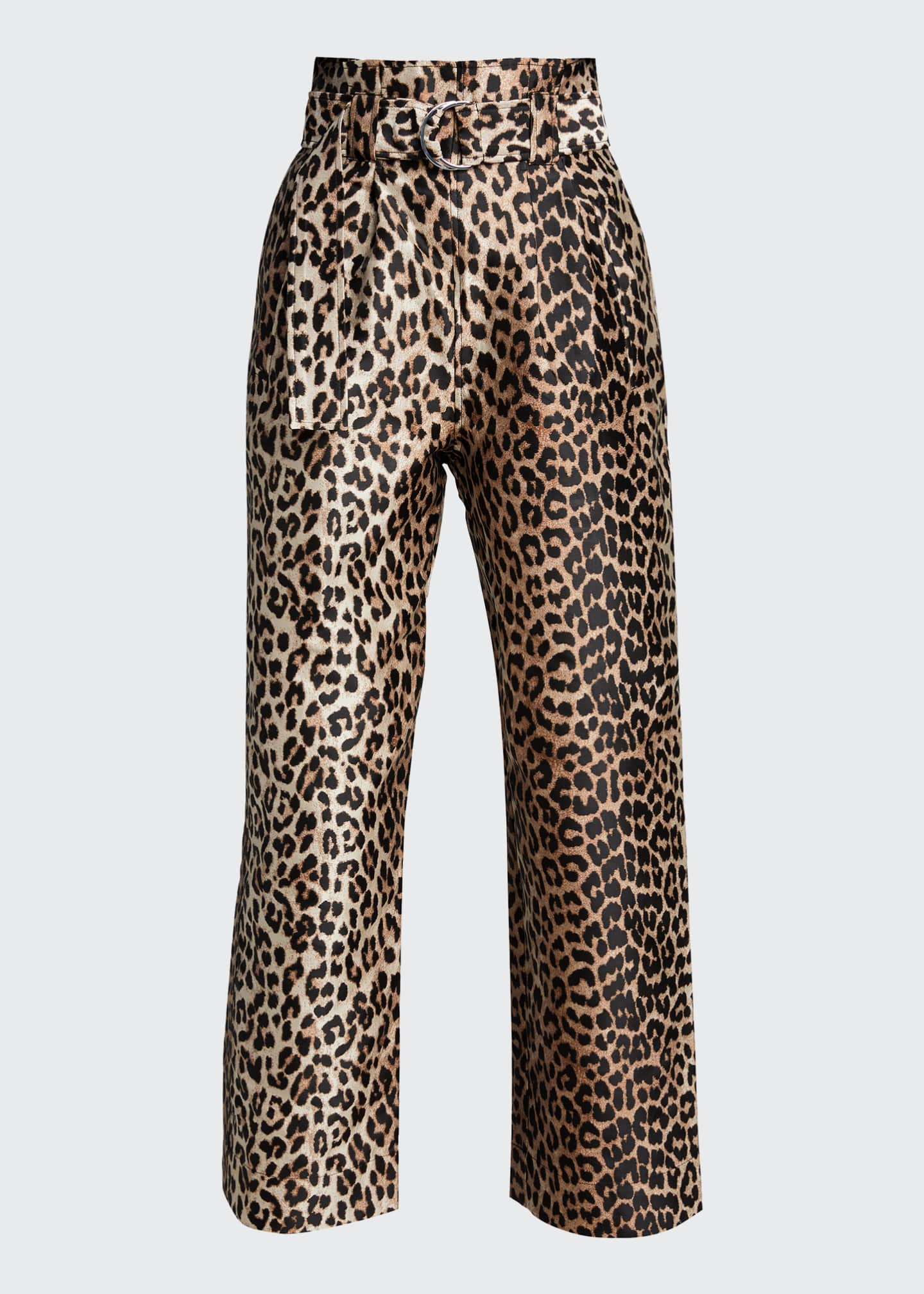 Image 5 of 5: Leopard-Print Jacquard High-Rise Pants