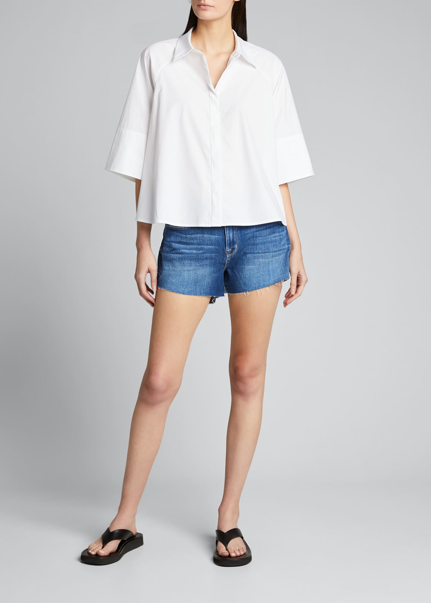 Image 1 of 5: Audrey Mid-Rise Denim Cutoff Shorts