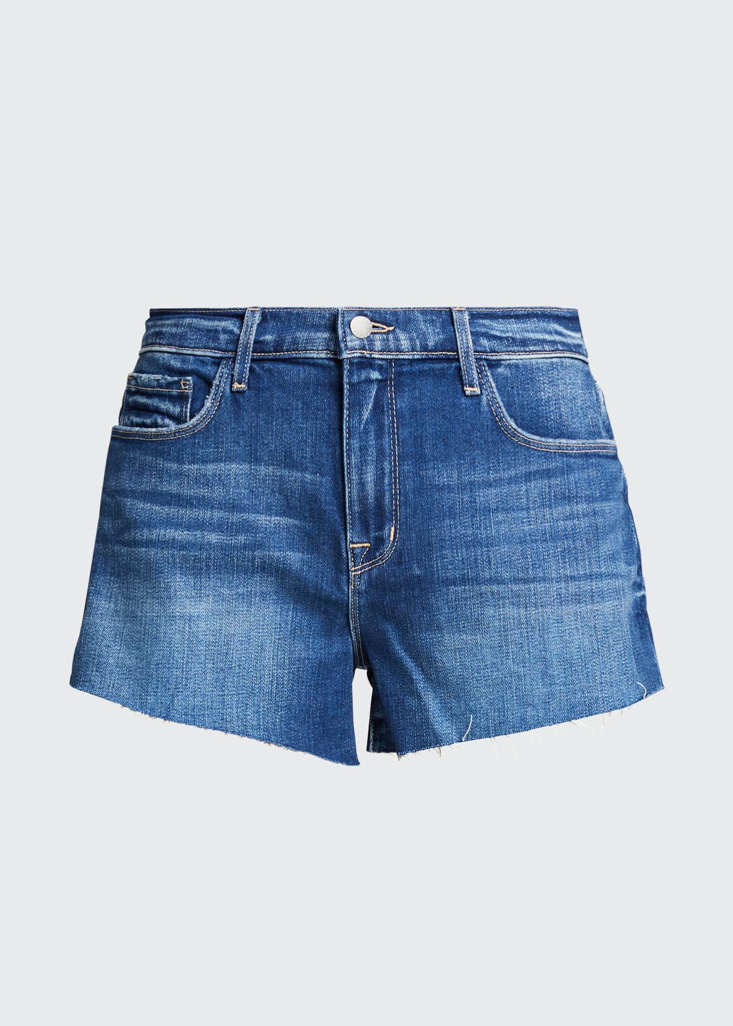 Image 5 of 5: Audrey Mid-Rise Denim Cutoff Shorts
