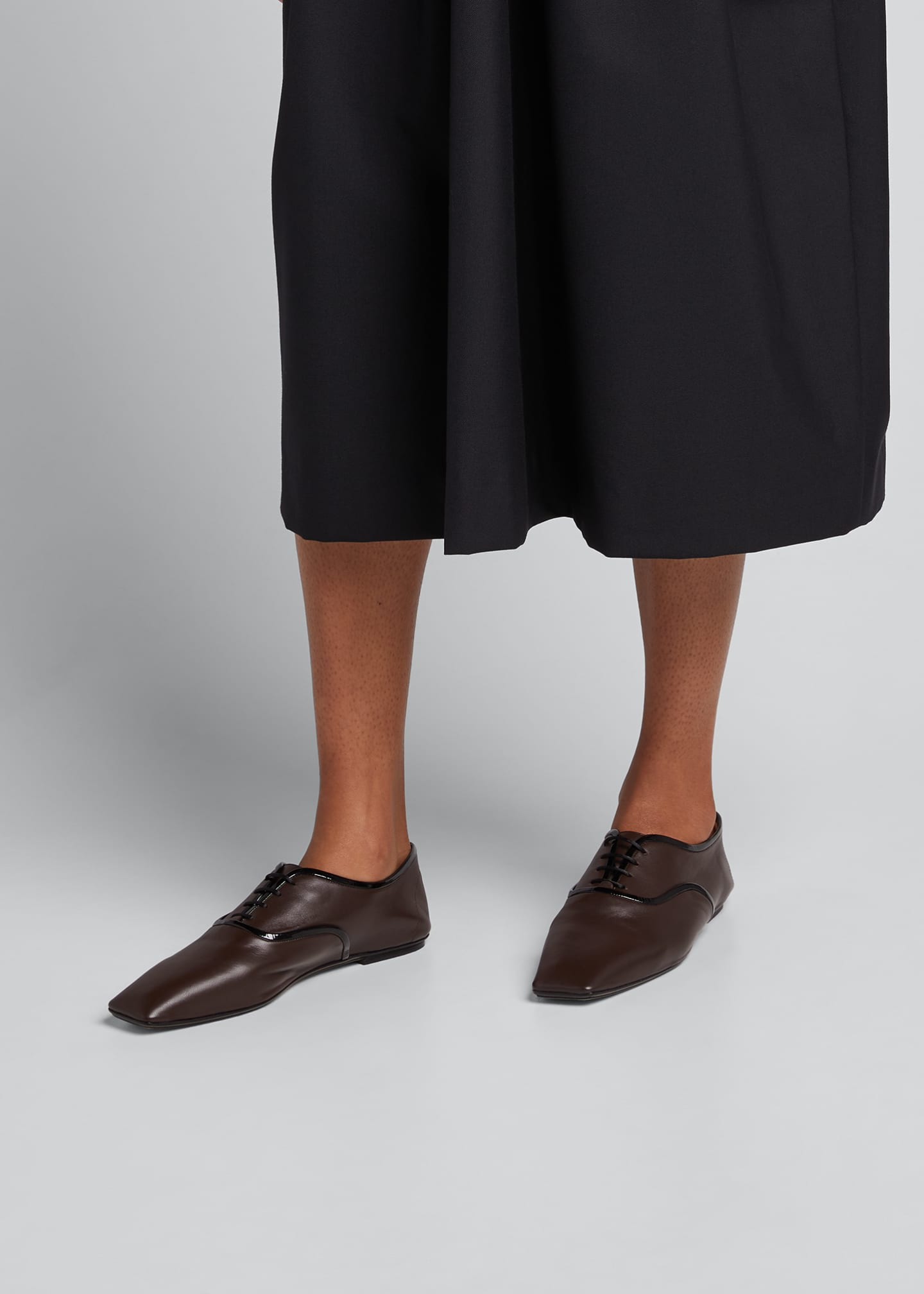 Image 2 of 5: Bicolor Square-Toe Flat Loafers