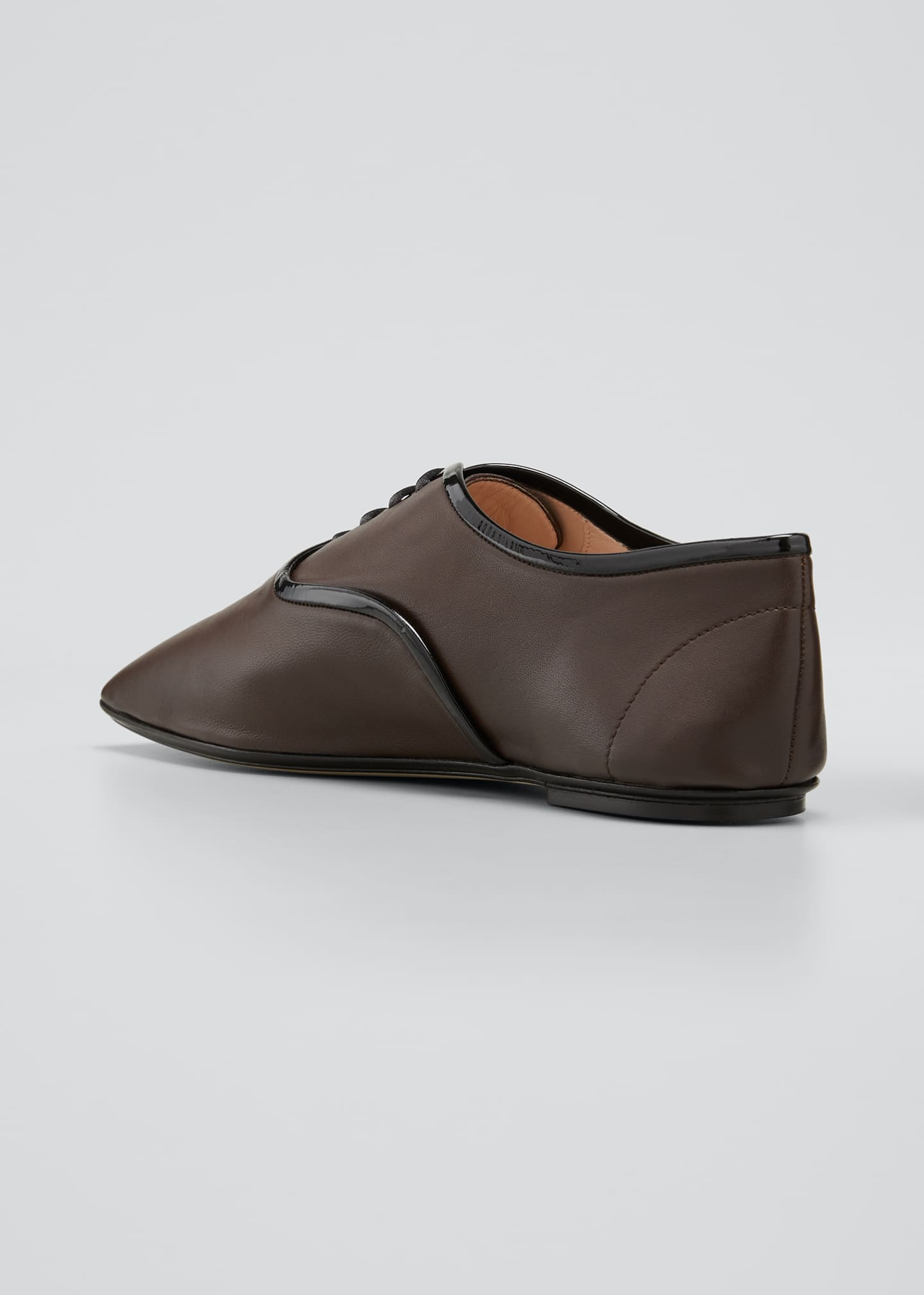 Image 4 of 5: Bicolor Square-Toe Flat Loafers
