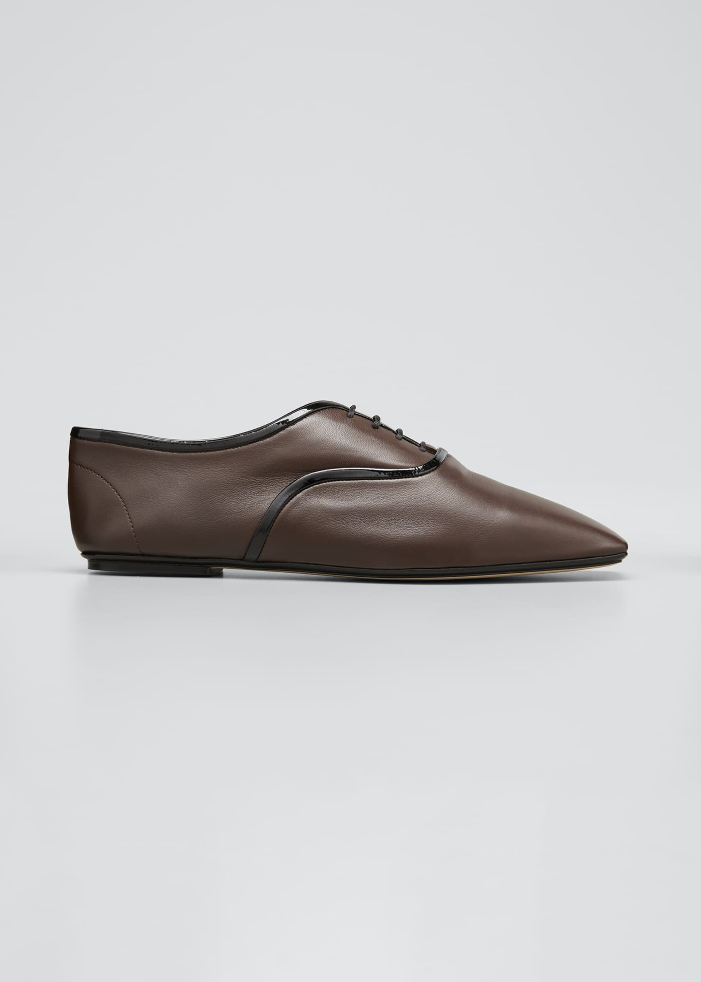 Image 1 of 5: Bicolor Square-Toe Flat Loafers