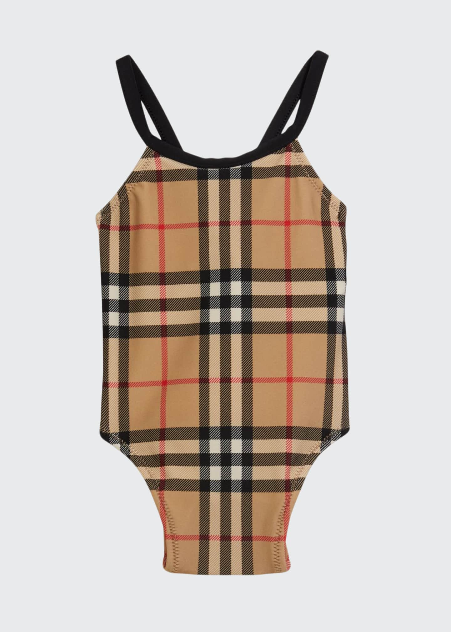 Girl's Crina Signature Check One-Piece Swimsuit, Size 6M-2