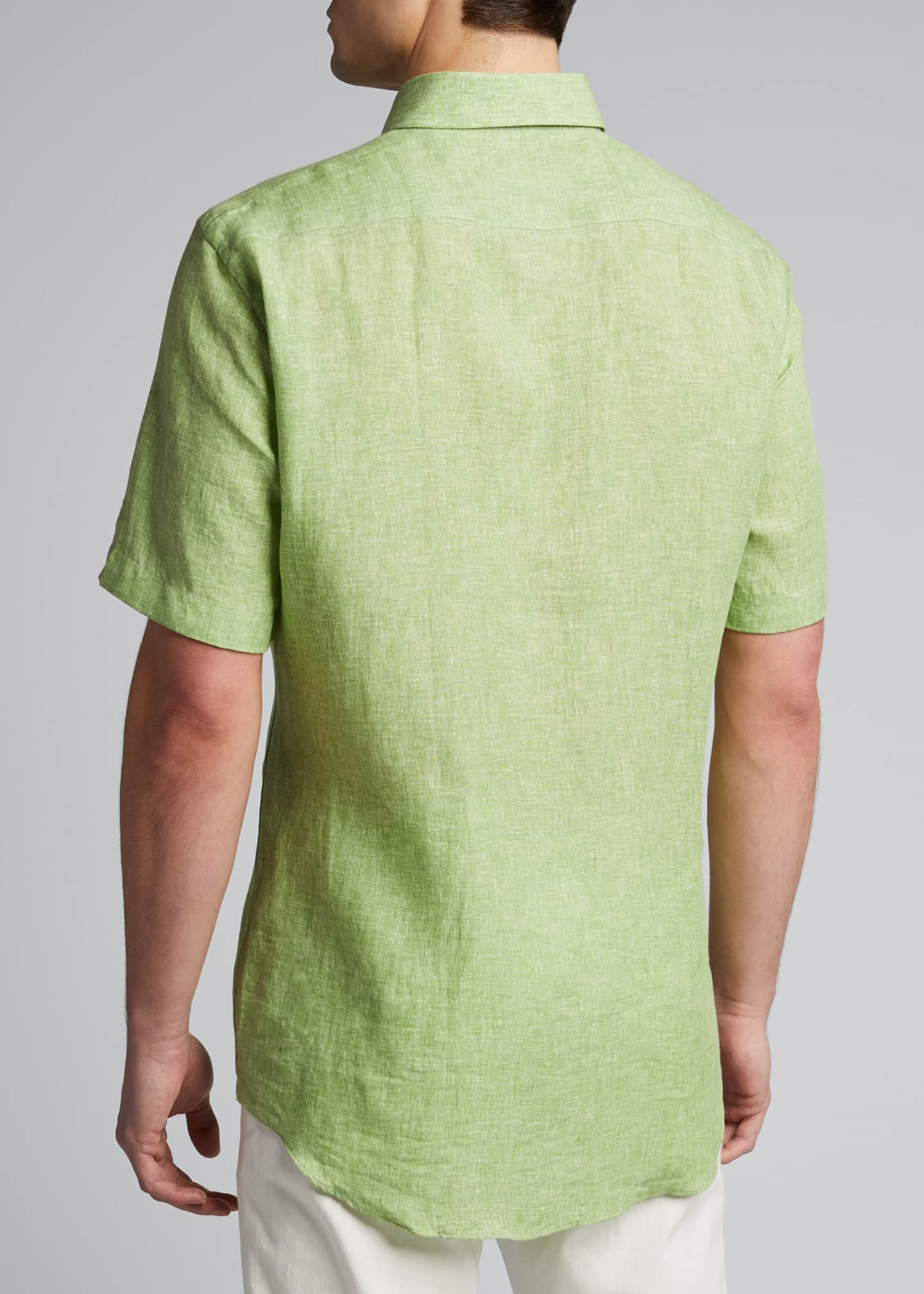Image 2 of 5: Men's Solid Short-Sleeve Yarn-Dyed Sport Shirt