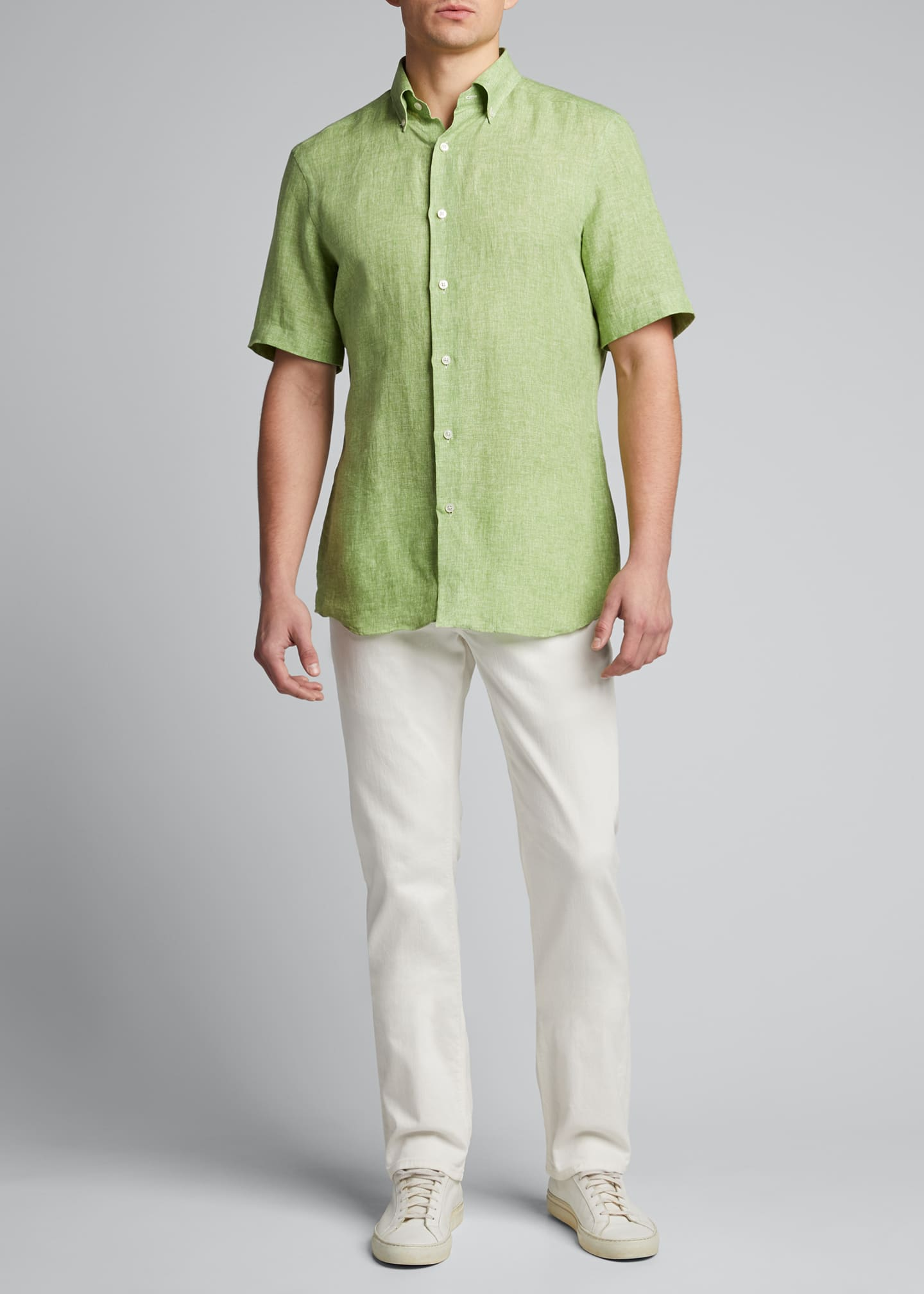 Image 1 of 5: Men's Solid Short-Sleeve Yarn-Dyed Sport Shirt