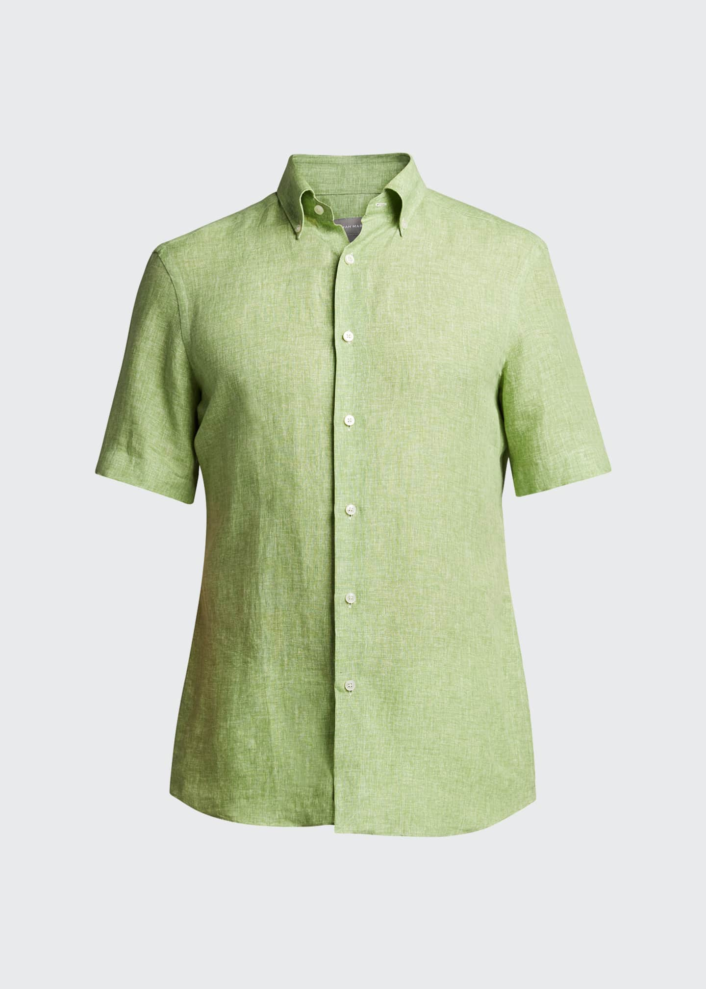 Image 5 of 5: Men's Solid Short-Sleeve Yarn-Dyed Sport Shirt