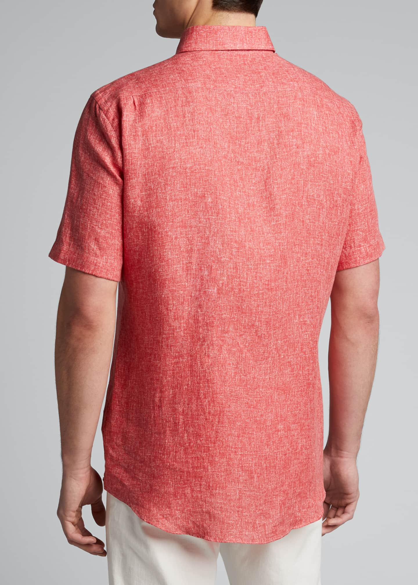 Image 2 of 5: Men's Solid Yarn-Dyed Linen Short-Sleeve Sport Shirt