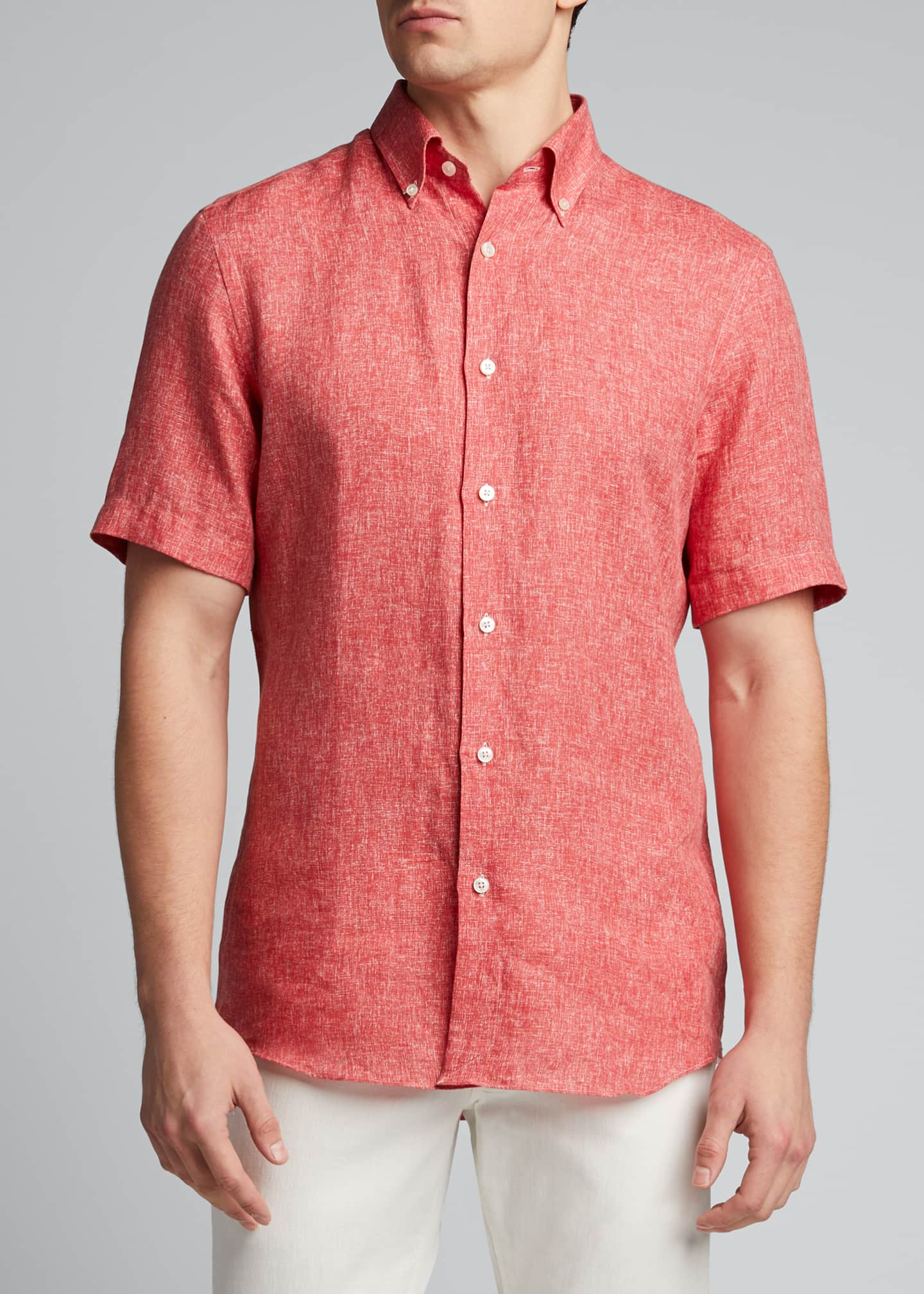 Image 3 of 5: Men's Solid Yarn-Dyed Linen Short-Sleeve Sport Shirt