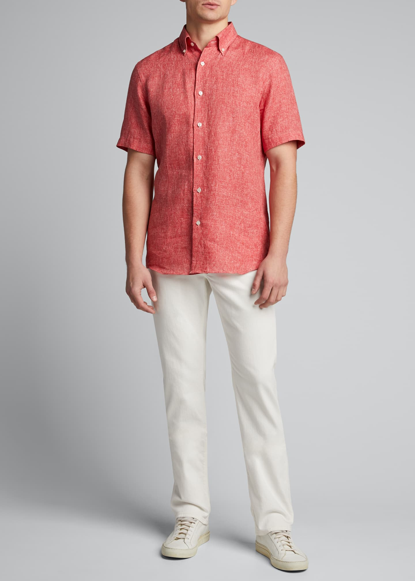 Image 1 of 5: Men's Solid Yarn-Dyed Linen Short-Sleeve Sport Shirt