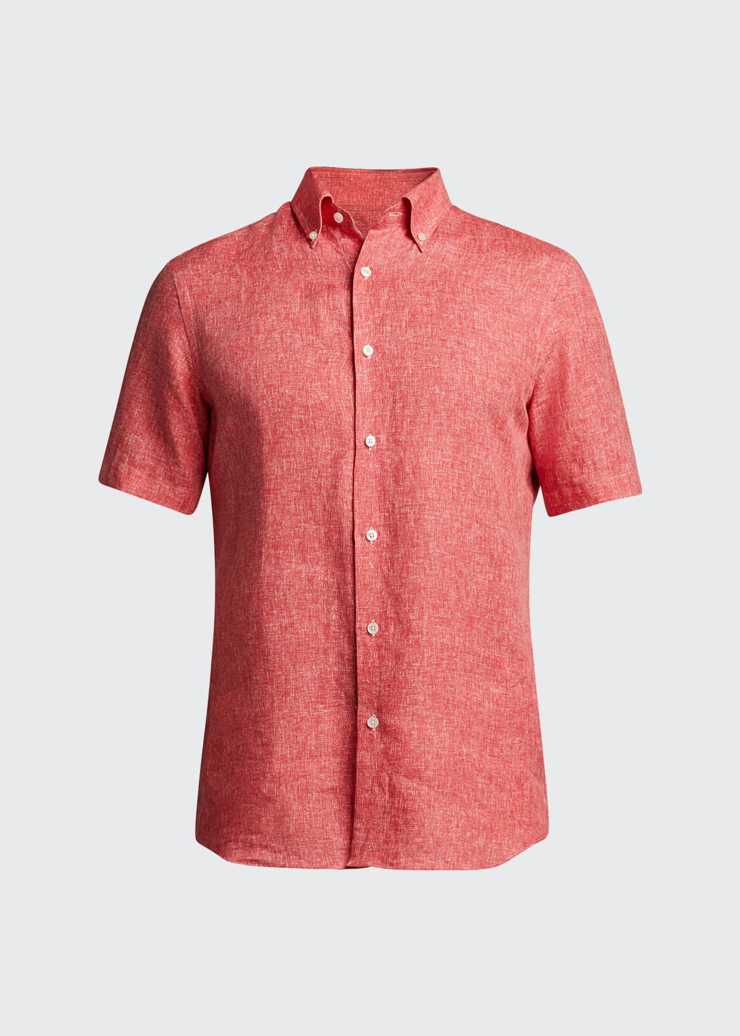 Image 5 of 5: Men's Solid Yarn-Dyed Linen Short-Sleeve Sport Shirt