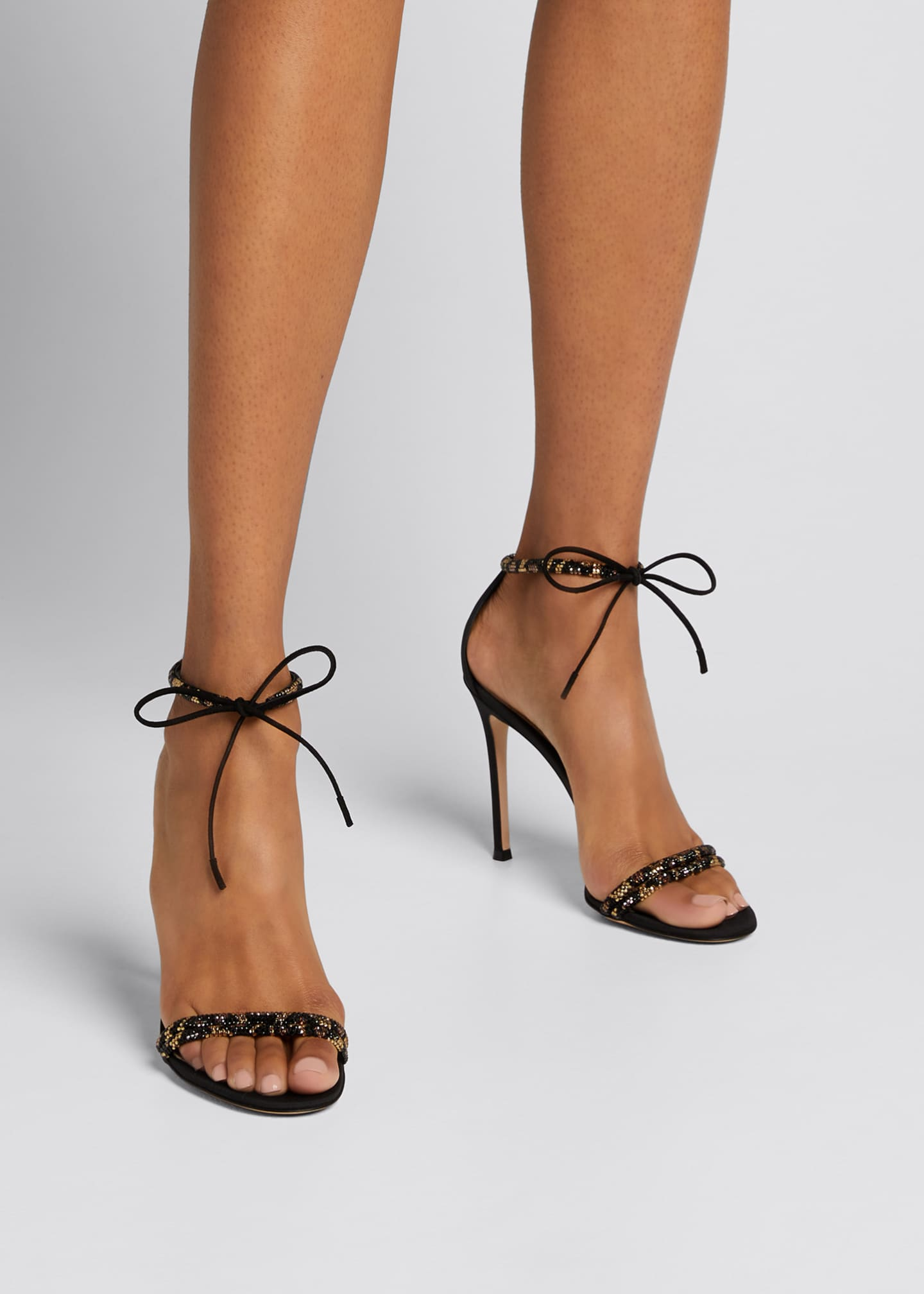 Image 2 of 5: Leo 105mm Beaded Ankle-Tie Sandals