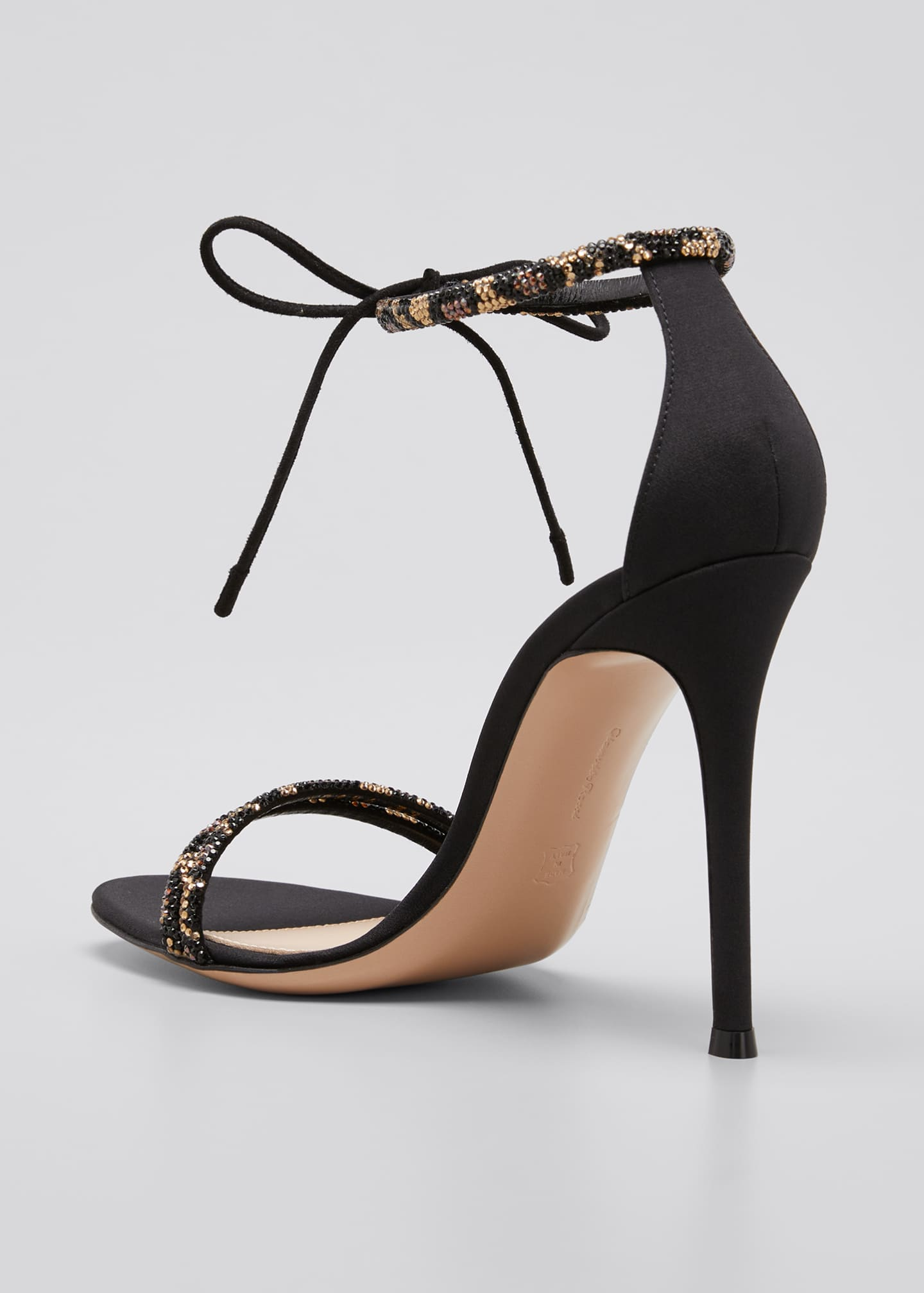 Image 4 of 5: Leo 105mm Beaded Ankle-Tie Sandals