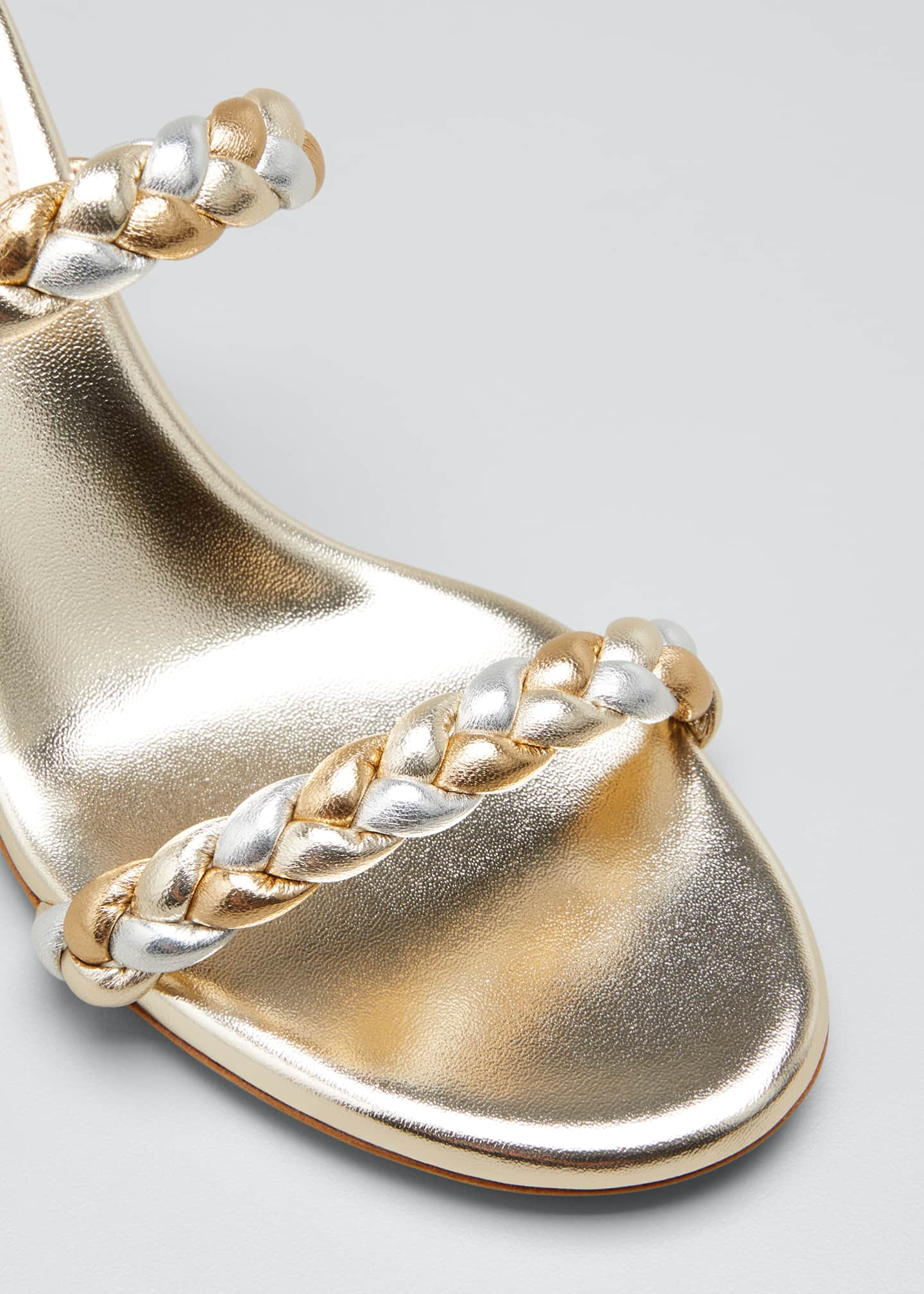 Image 5 of 5: 70mm Braided Metallic 2-Band Slide Sandals