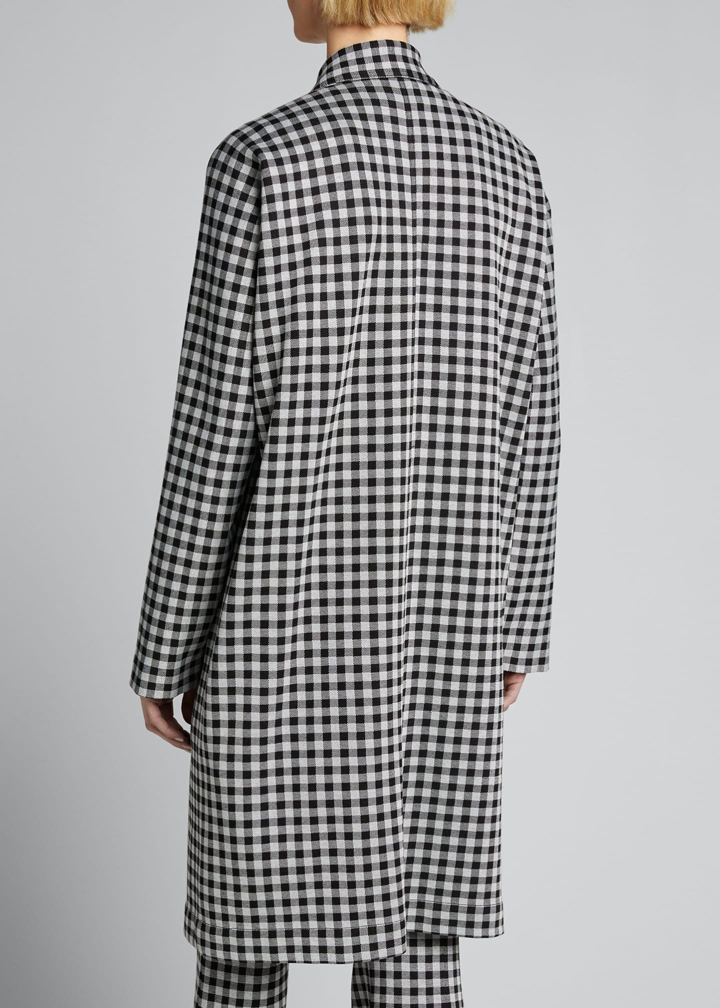 Image 2 of 5: Checked Cocoon Coat