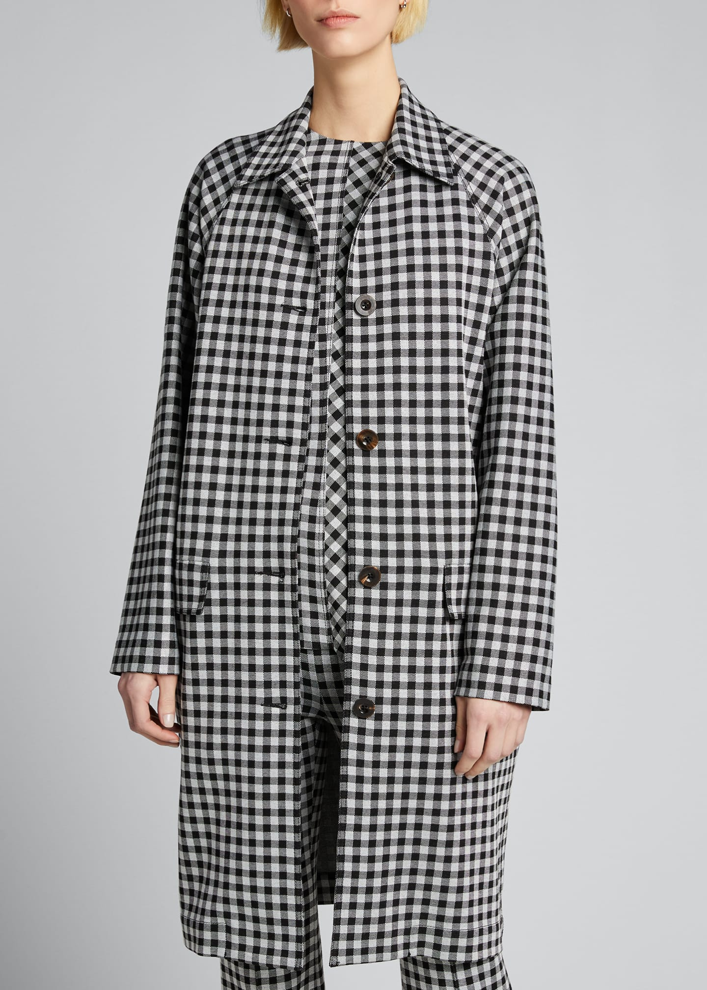 Image 3 of 5: Checked Cocoon Coat