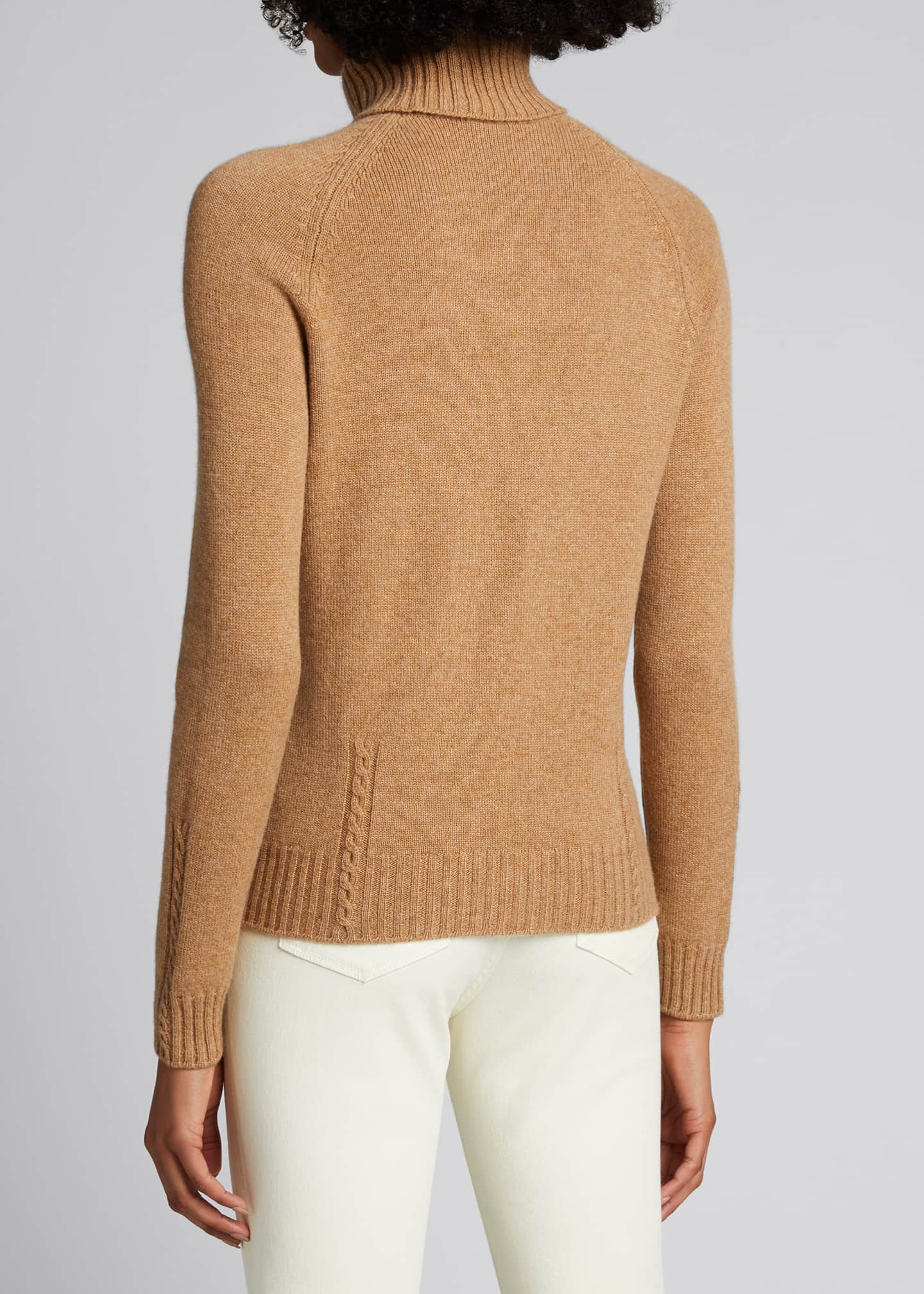 Image 2 of 5: Baby Cashmere Cable-Knit Detail Turtleneck