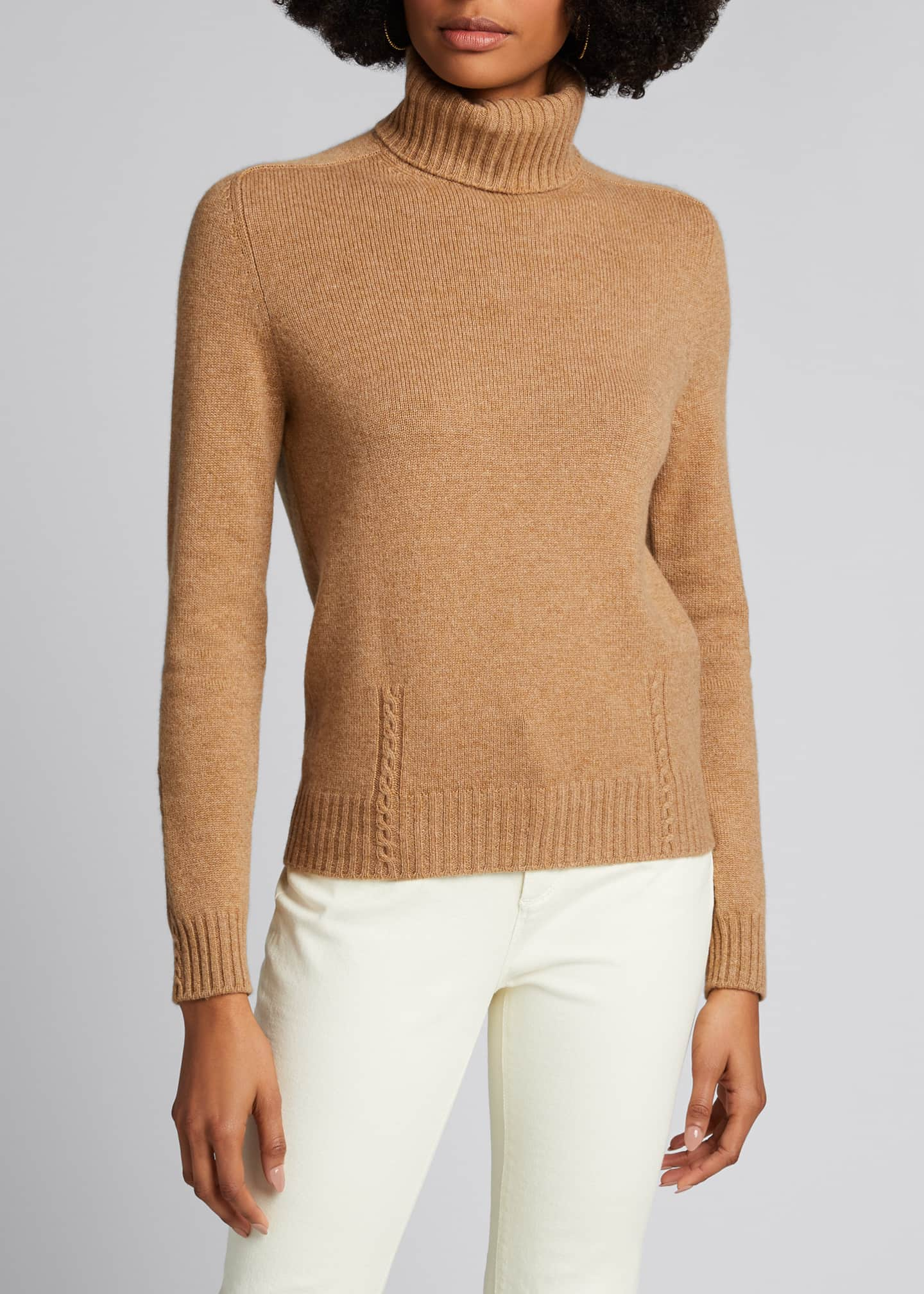 Image 3 of 5: Baby Cashmere Cable-Knit Detail Turtleneck
