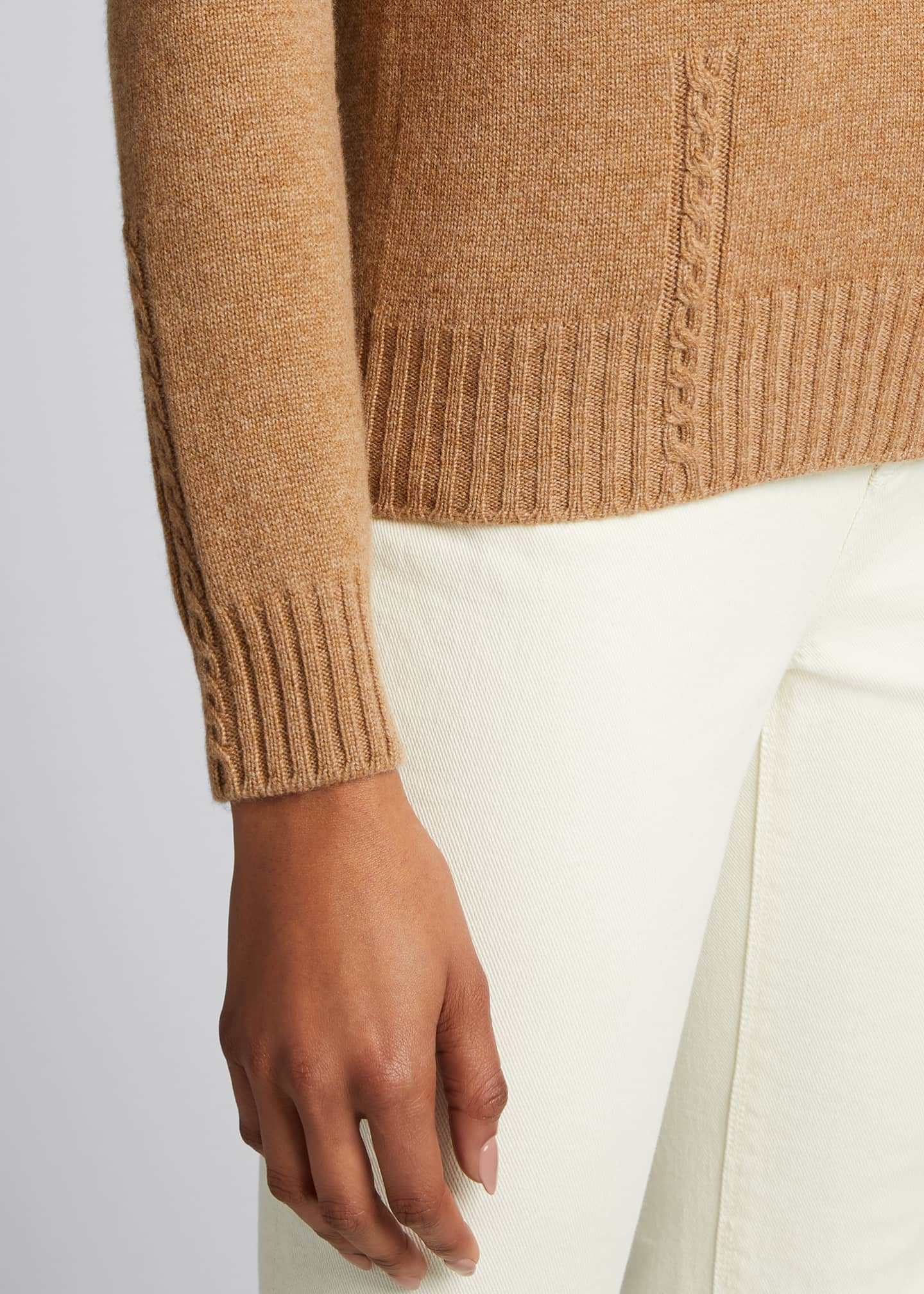 Image 4 of 5: Baby Cashmere Cable-Knit Detail Turtleneck