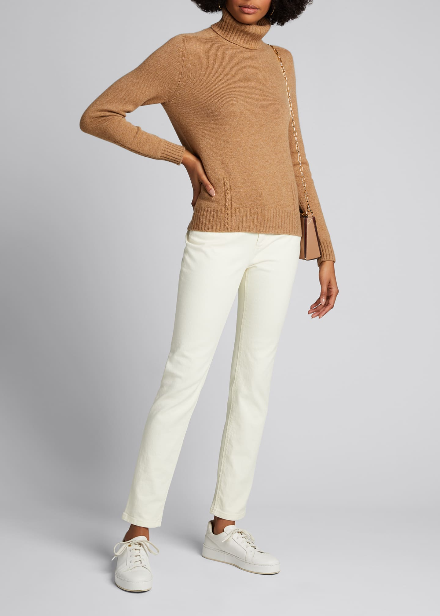 Image 1 of 5: Baby Cashmere Cable-Knit Detail Turtleneck