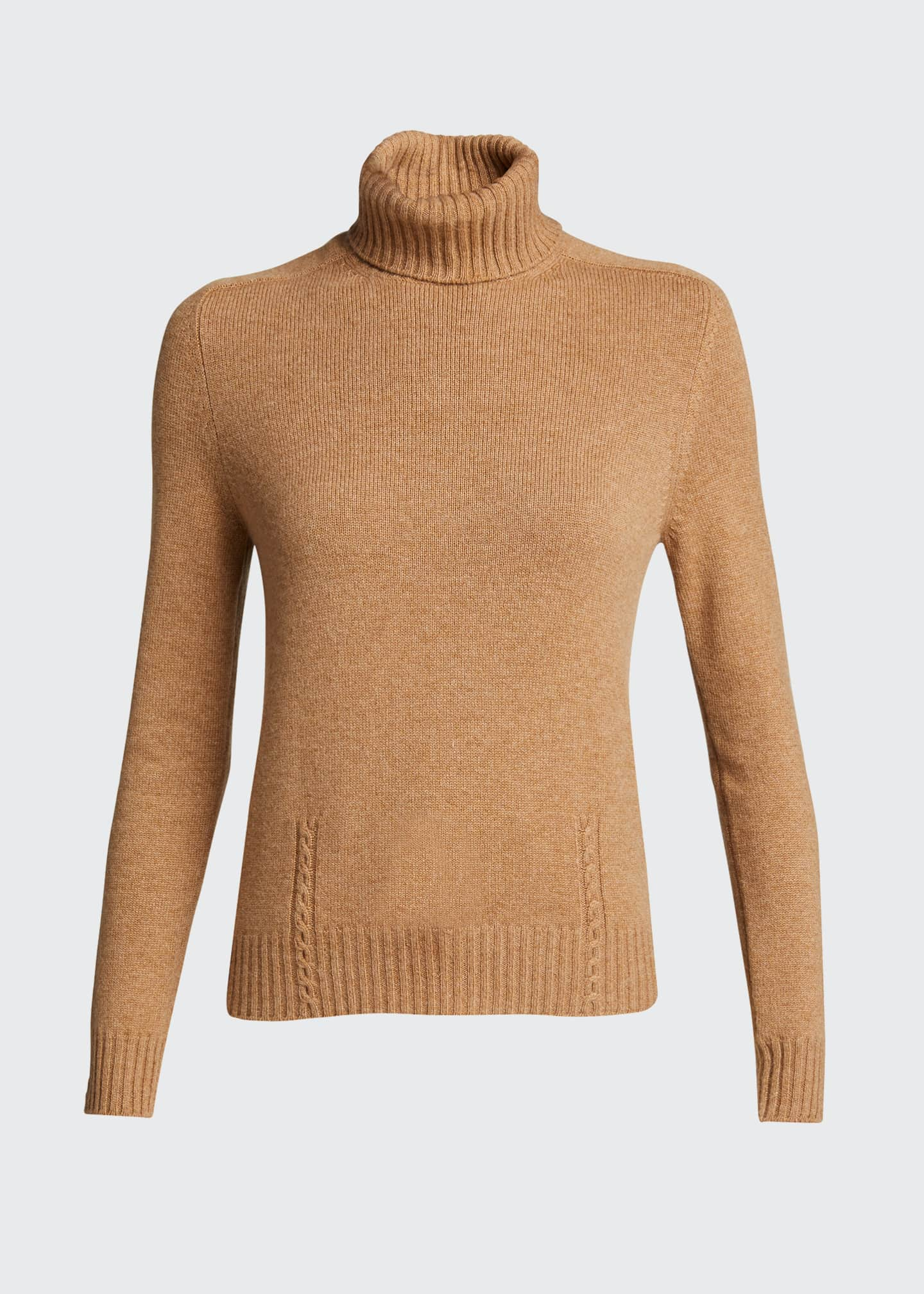Image 5 of 5: Baby Cashmere Cable-Knit Detail Turtleneck