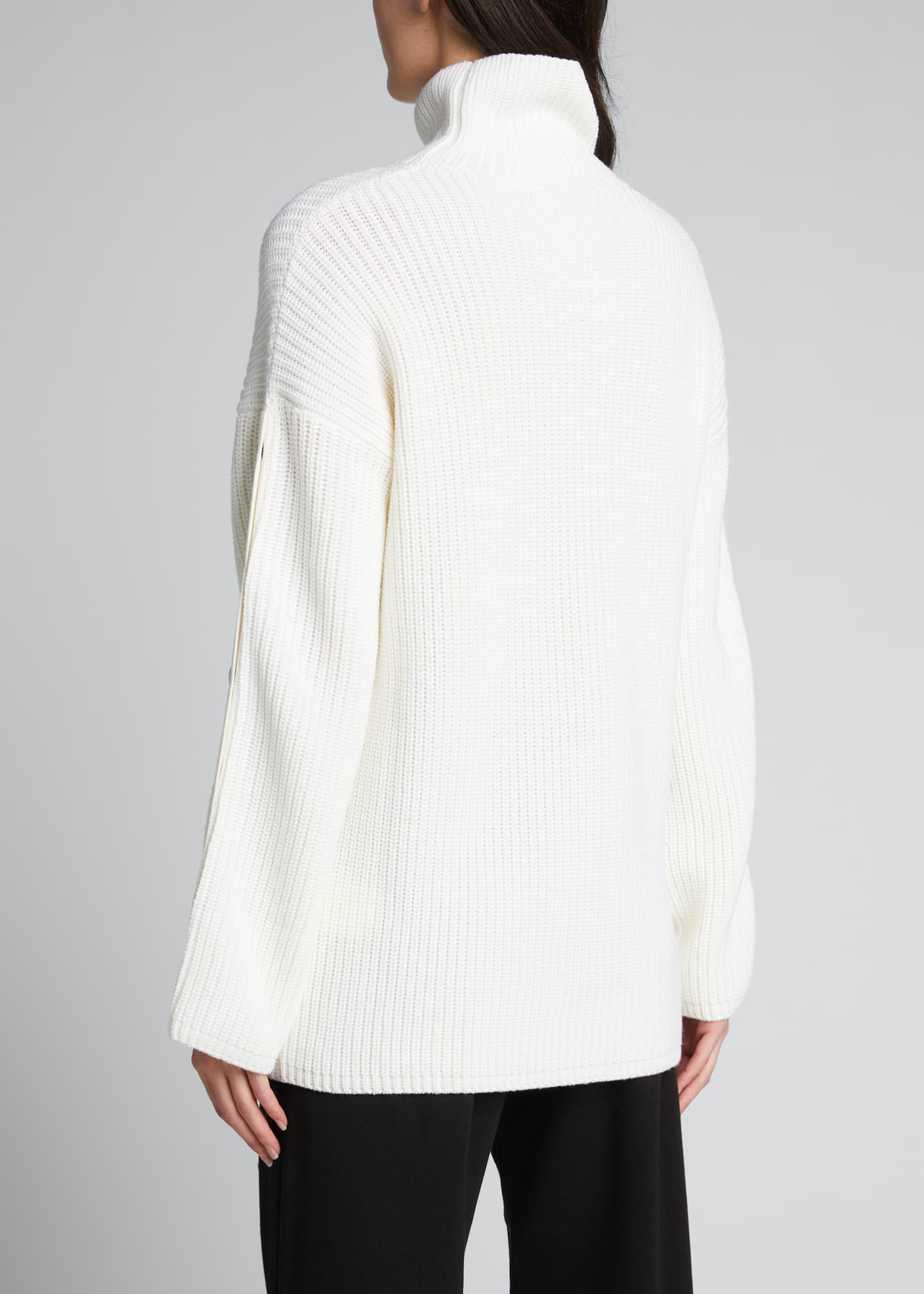 Image 2 of 5: Button-Sleeve Long Turtleneck Sweater