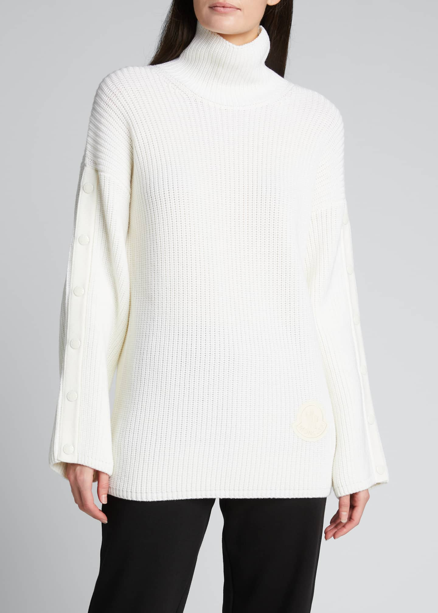 Image 3 of 5: Button-Sleeve Long Turtleneck Sweater