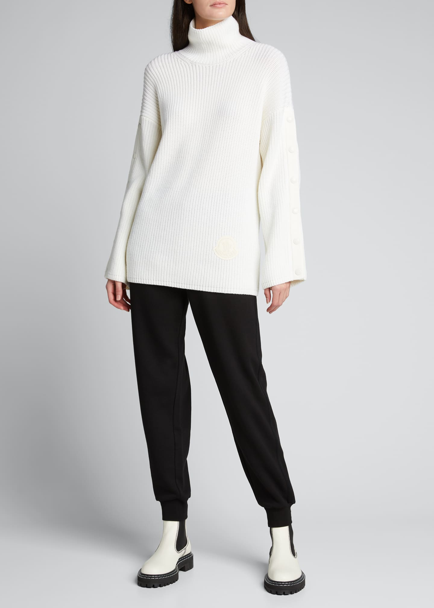 Button-Sleeve Long Turtleneck Sweater