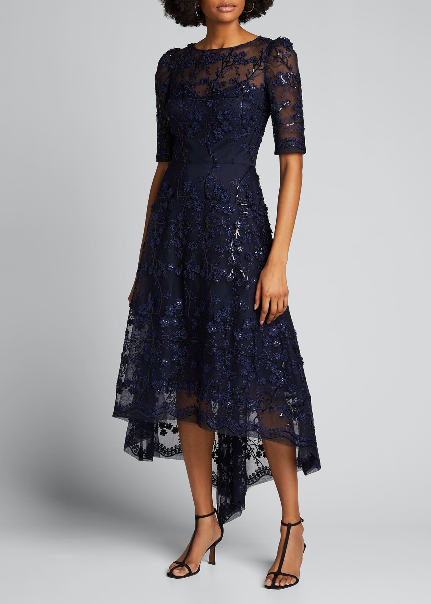 Image 3 of 5: 3D Embellished Lace High-Low Tulle Dress