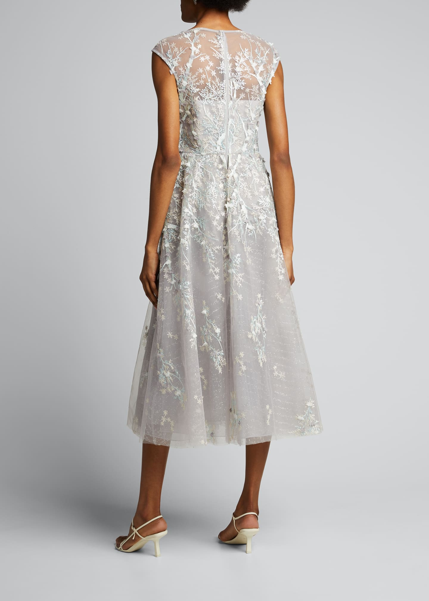 Image 2 of 5: 3D Embroidered Midi Tulle Dress
