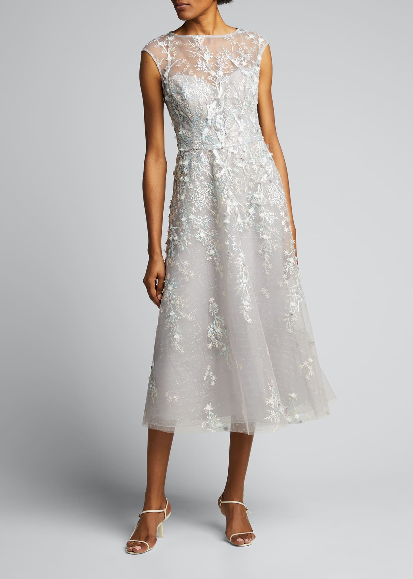 Image 3 of 5: 3D Embroidered Midi Tulle Dress