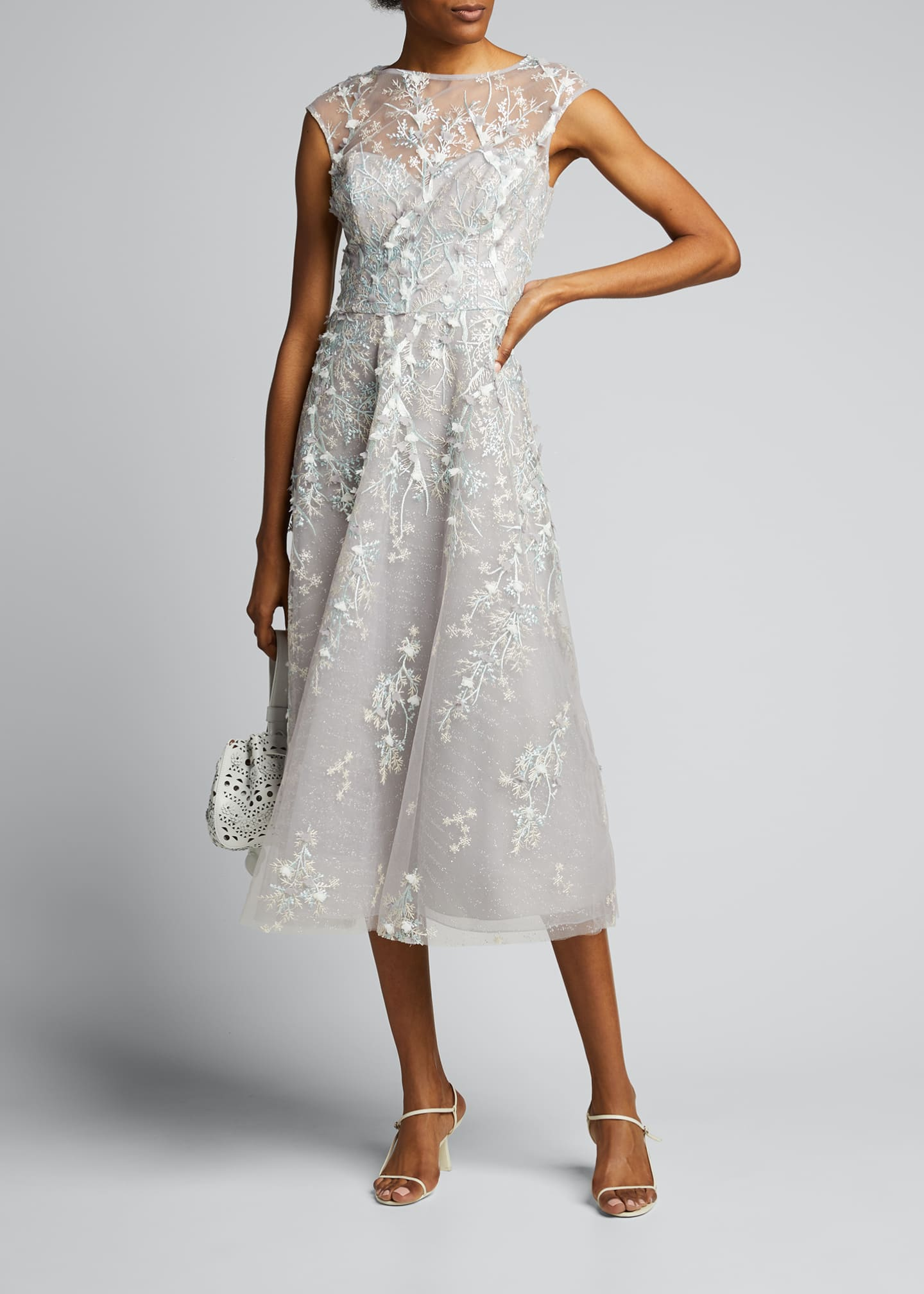 Image 1 of 5: 3D Embroidered Midi Tulle Dress
