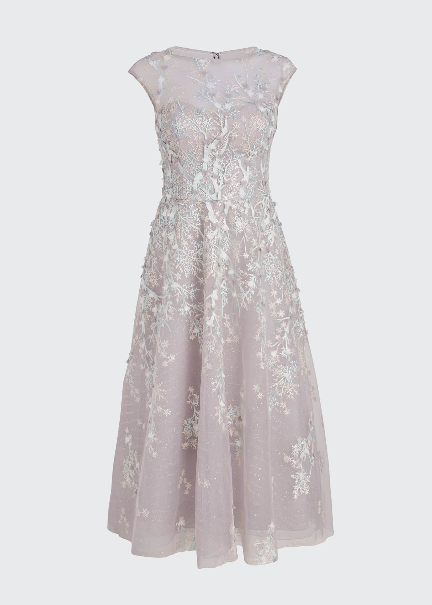 Image 5 of 5: 3D Embroidered Midi Tulle Dress